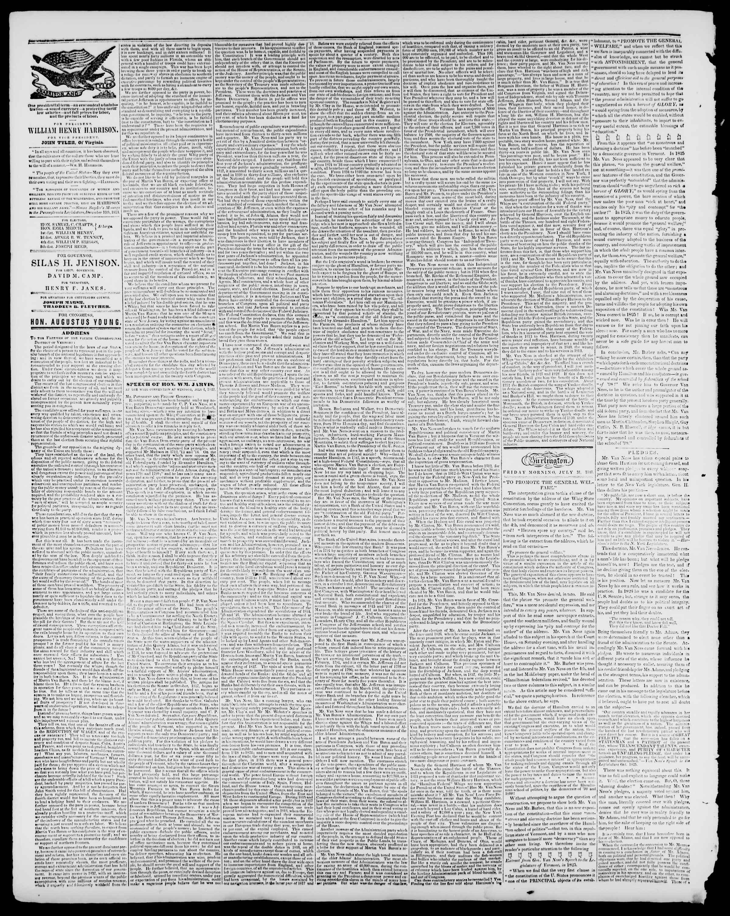 Newspaper of Burlington Free Press dated July 31, 1840 Page 2