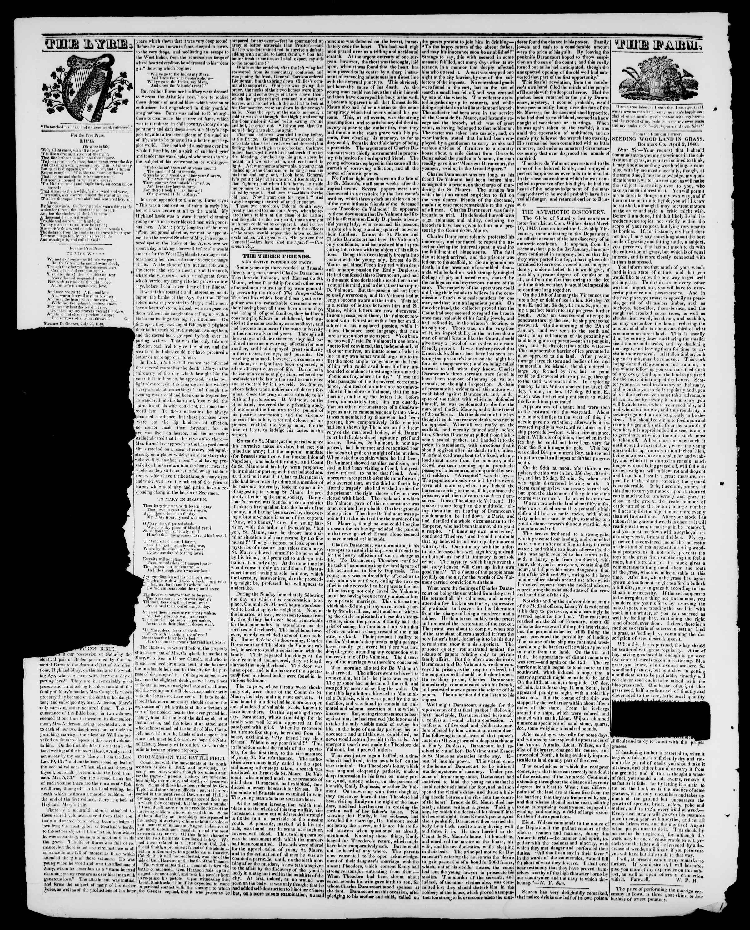 Newspaper of Burlington Free Press dated July 31, 1840 Page 4