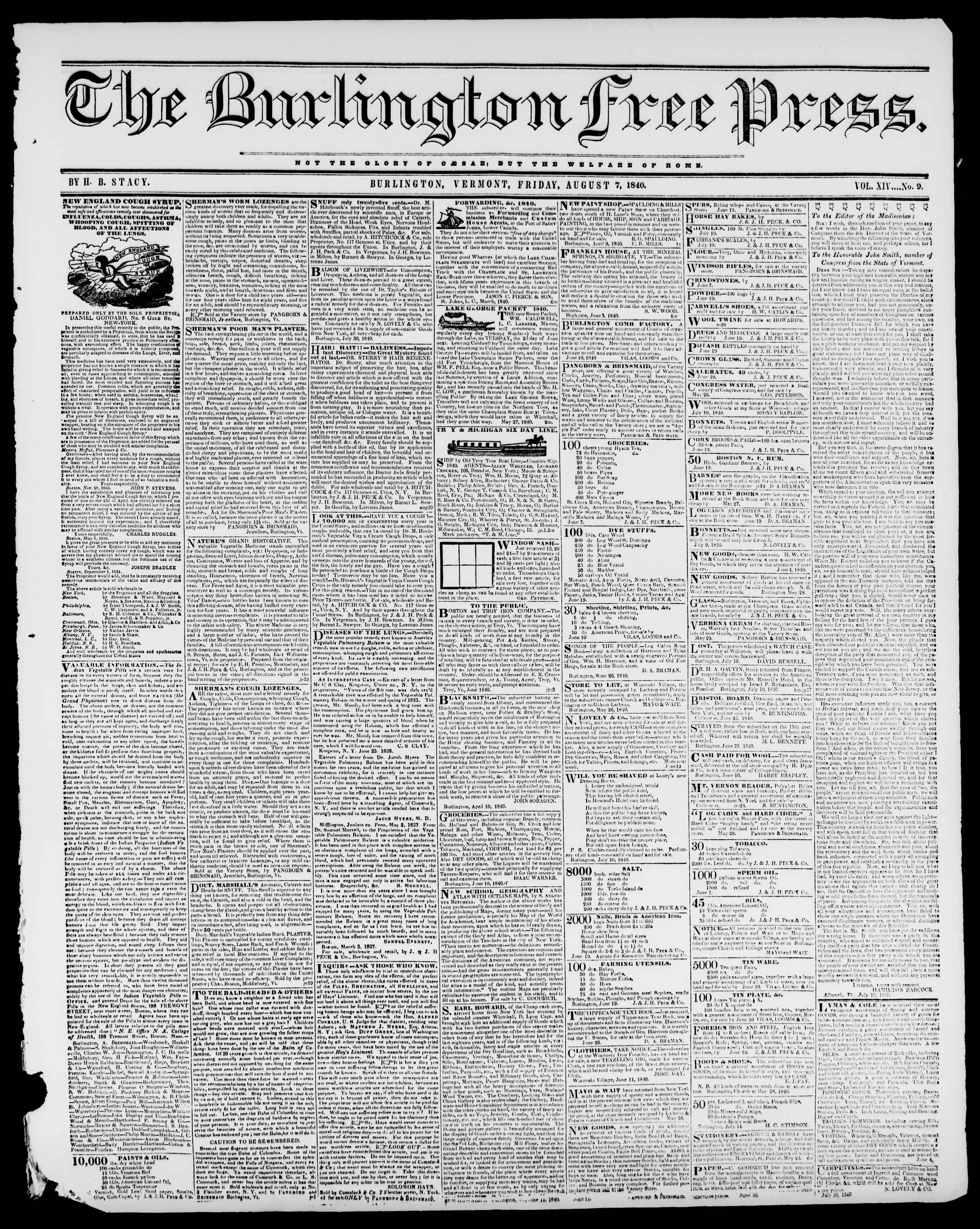 Newspaper of Burlington Free Press dated August 7, 1840 Page 1