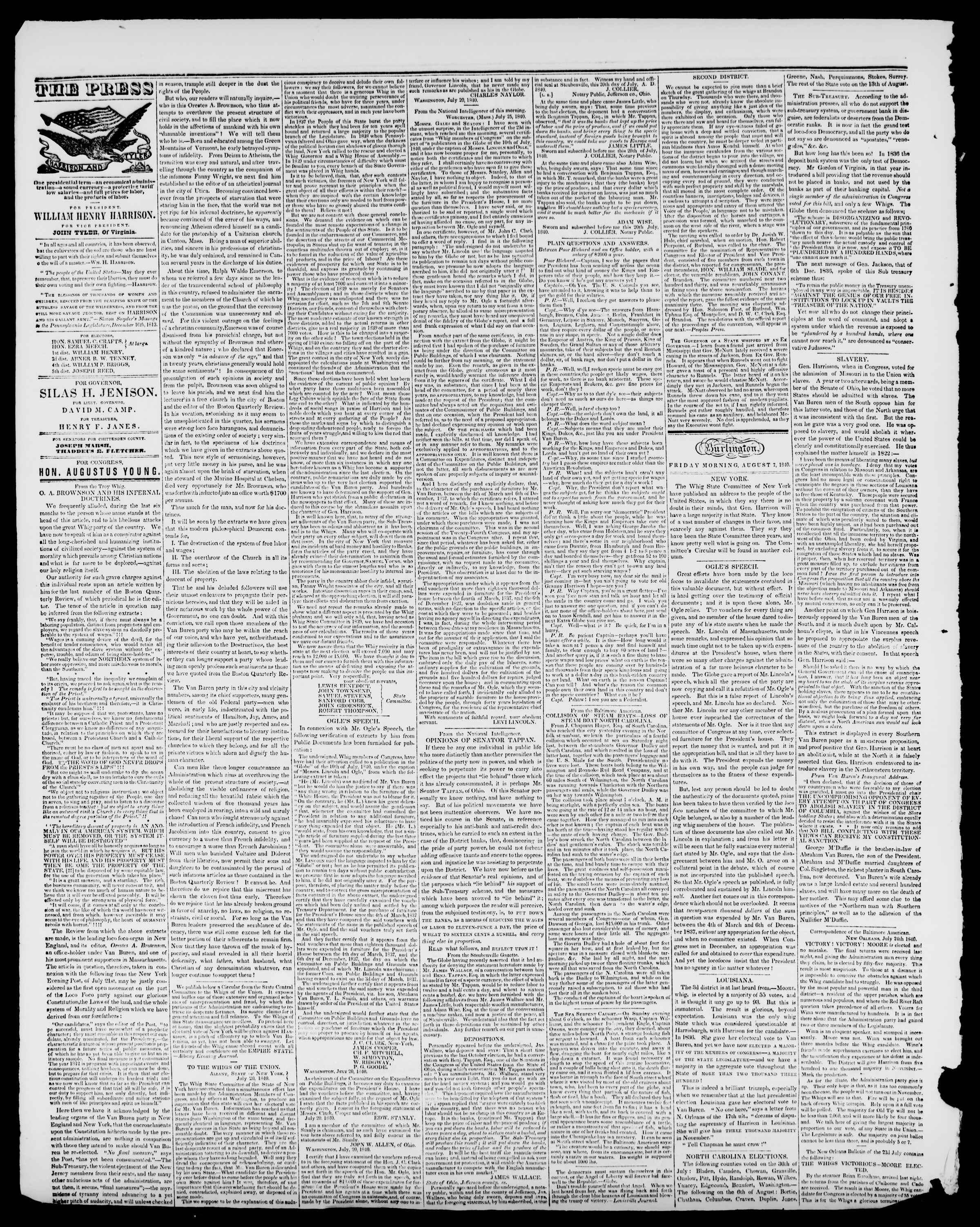 Newspaper of Burlington Free Press dated August 7, 1840 Page 2
