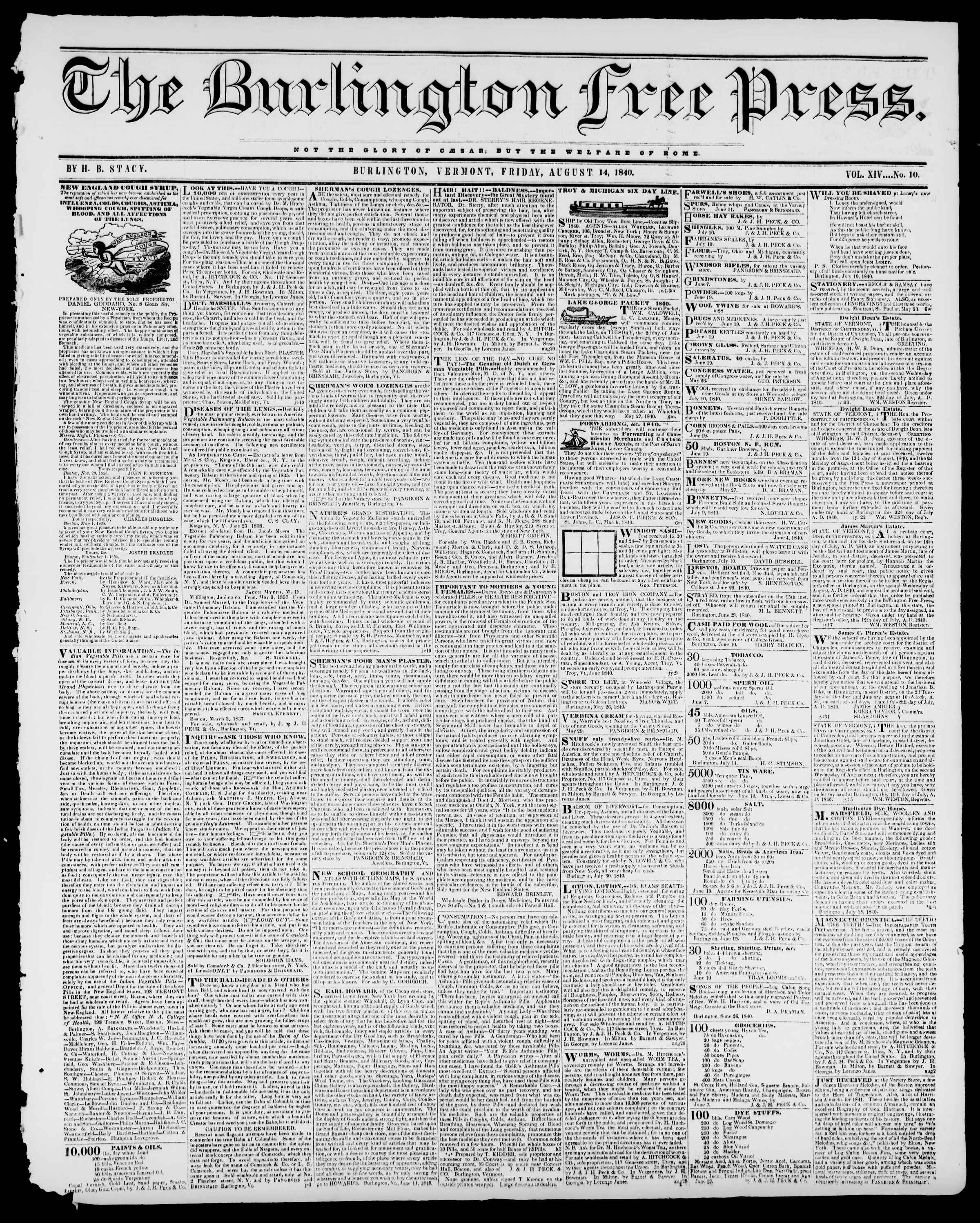 Newspaper of Burlington Free Press dated August 14, 1840 Page 1