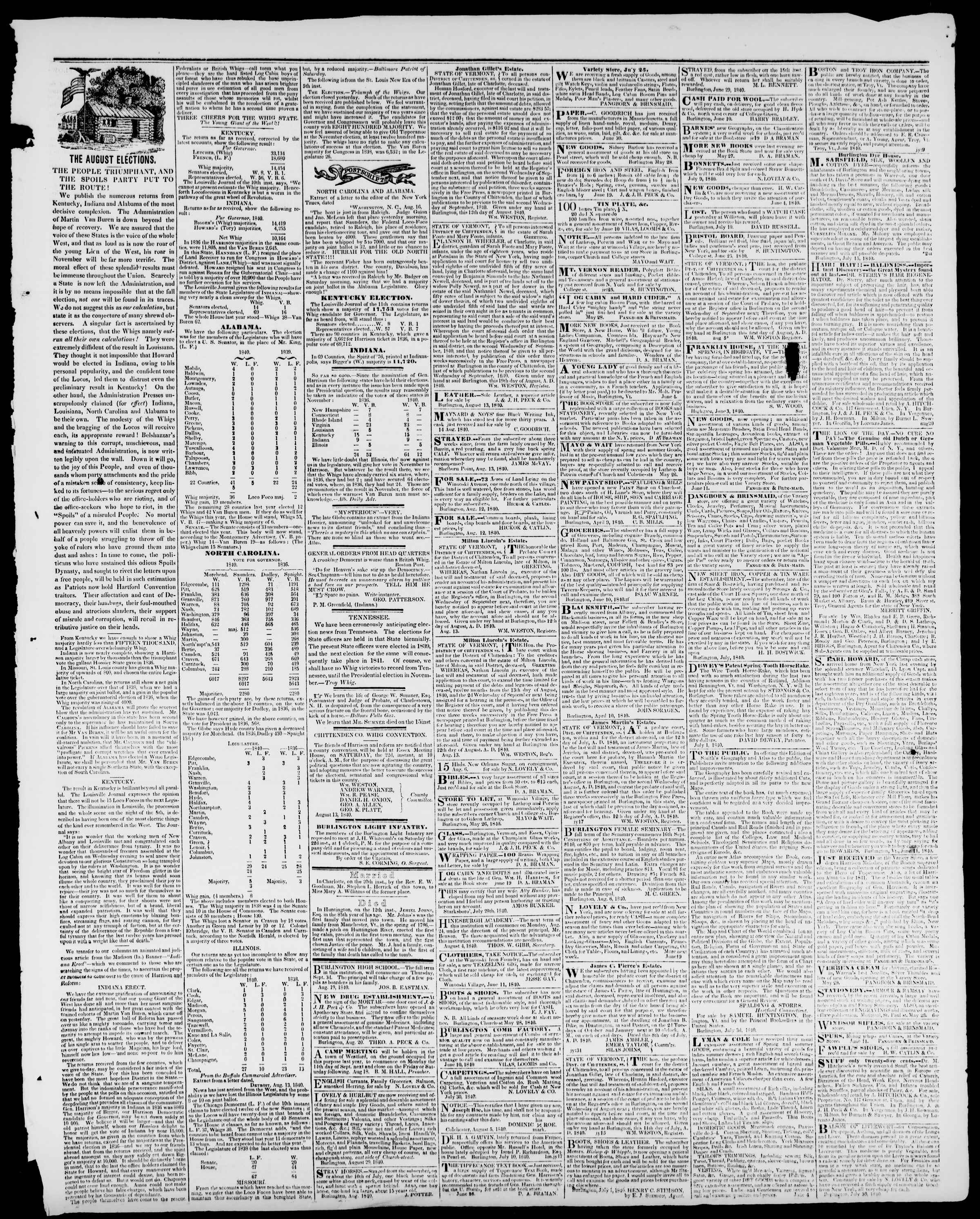 Newspaper of Burlington Free Press dated August 21, 1840 Page 3