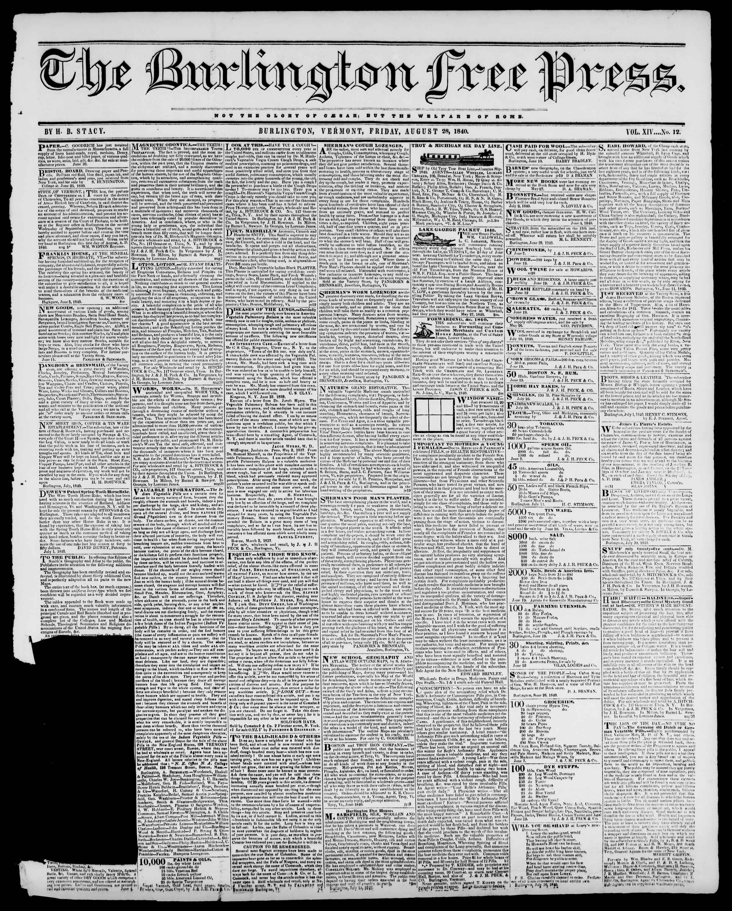 Newspaper of Burlington Free Press dated August 28, 1840 Page 1
