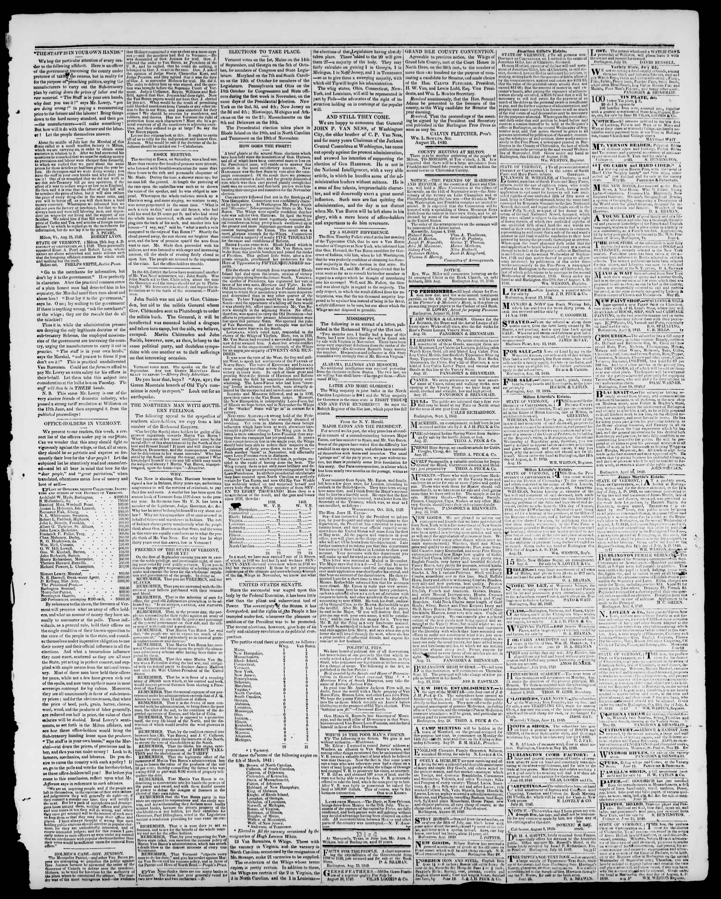 Newspaper of Burlington Free Press dated August 28, 1840 Page 3