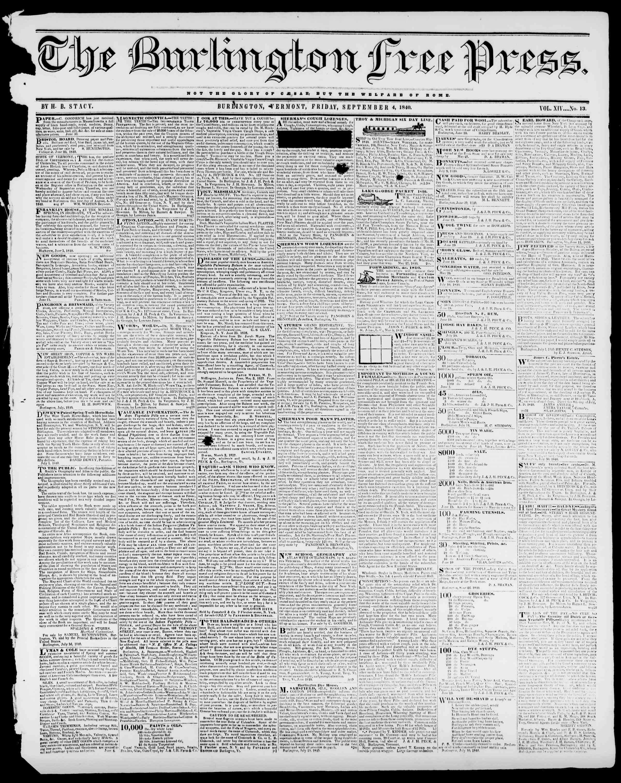 Newspaper of Burlington Free Press dated September 4, 1840 Page 1