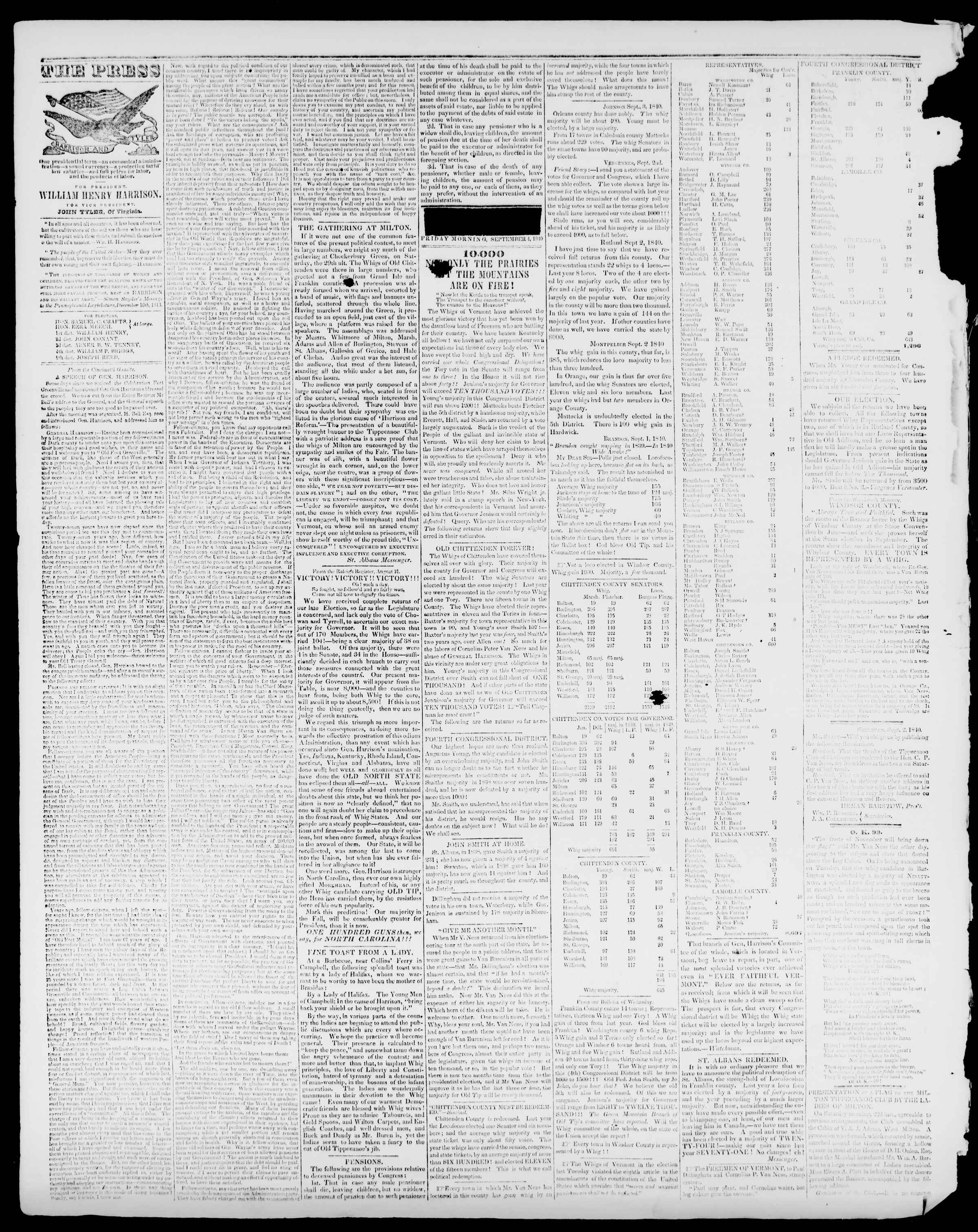 Newspaper of Burlington Free Press dated September 4, 1840 Page 2