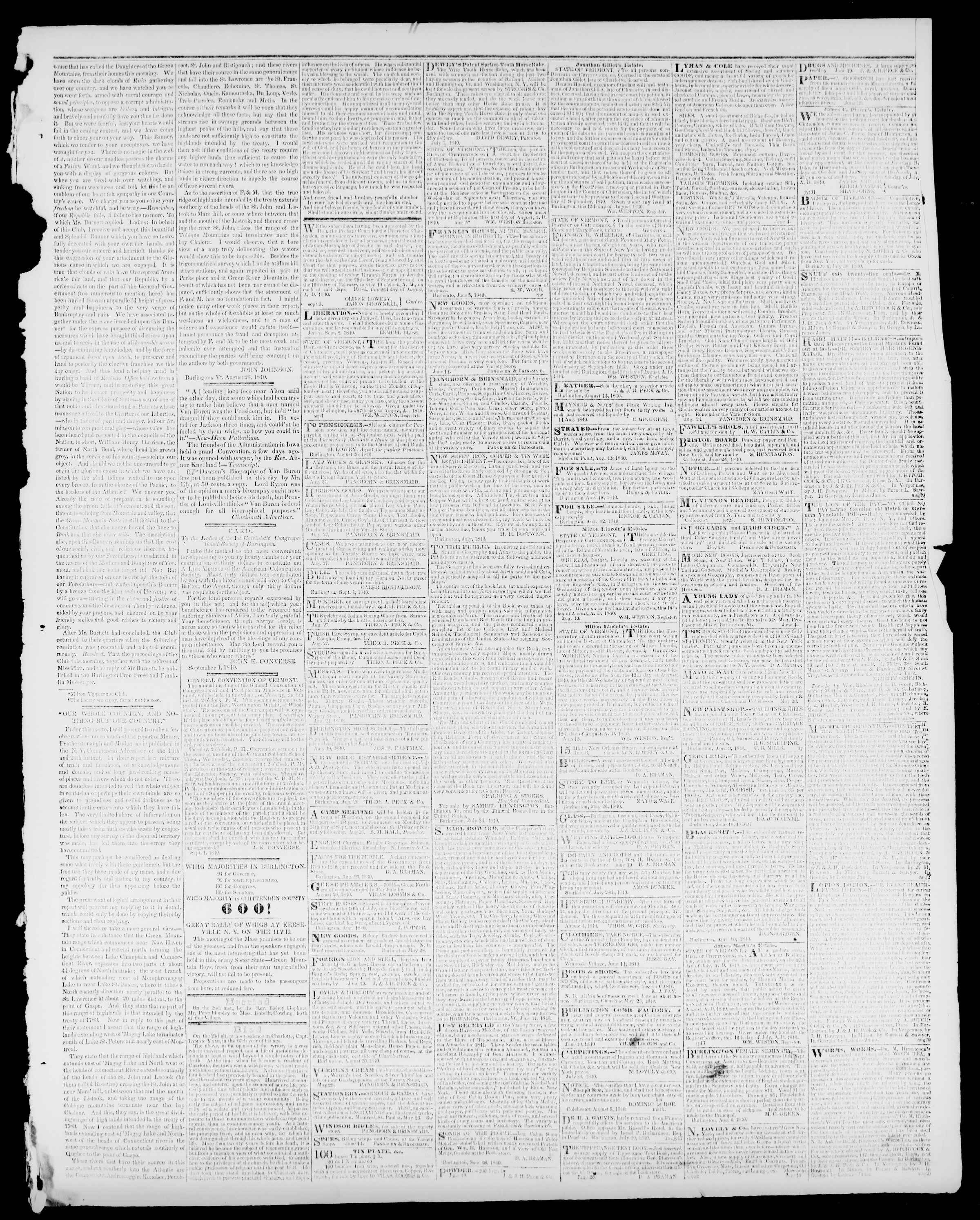 Newspaper of Burlington Free Press dated September 4, 1840 Page 3