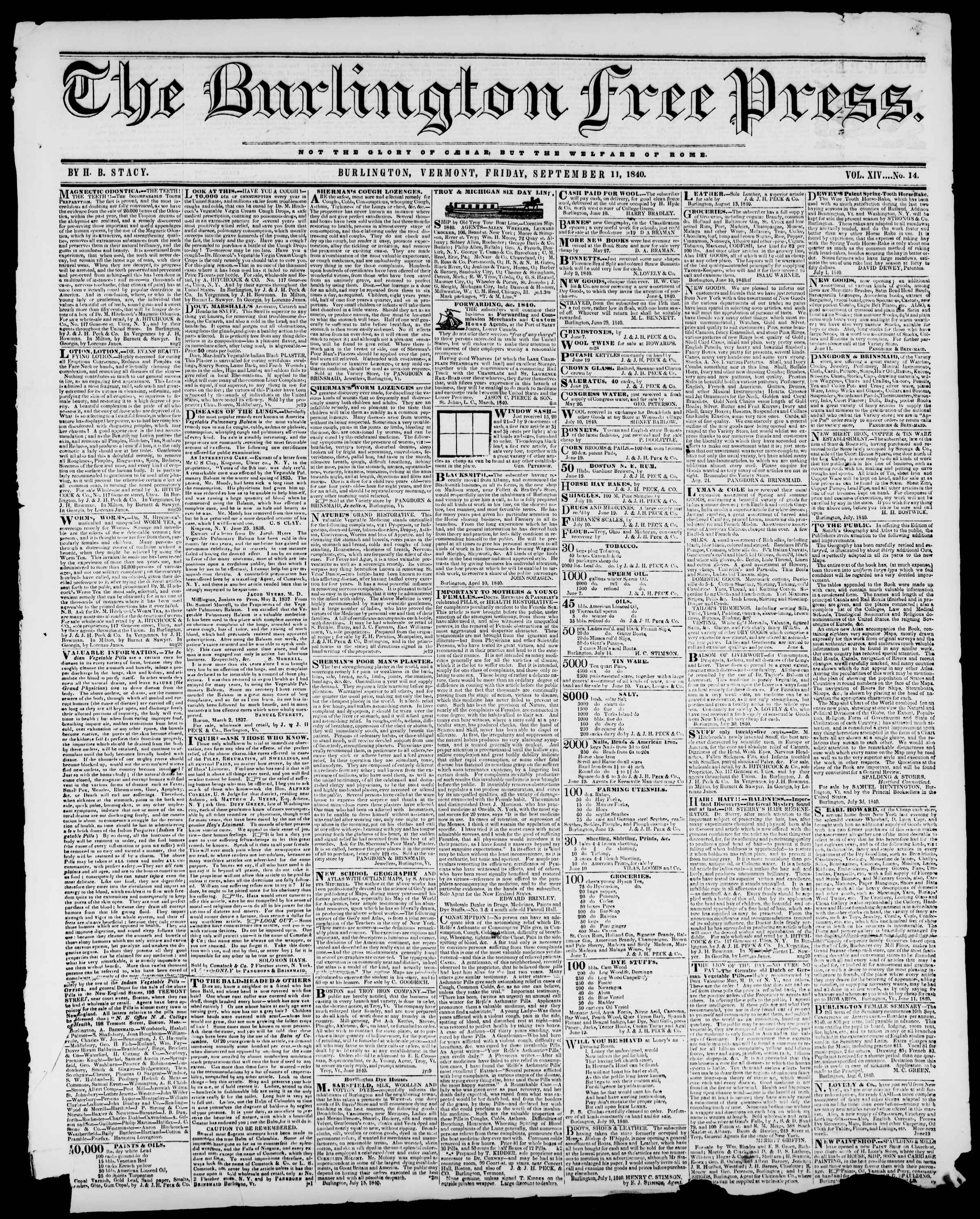 Newspaper of Burlington Free Press dated September 11, 1840 Page 1