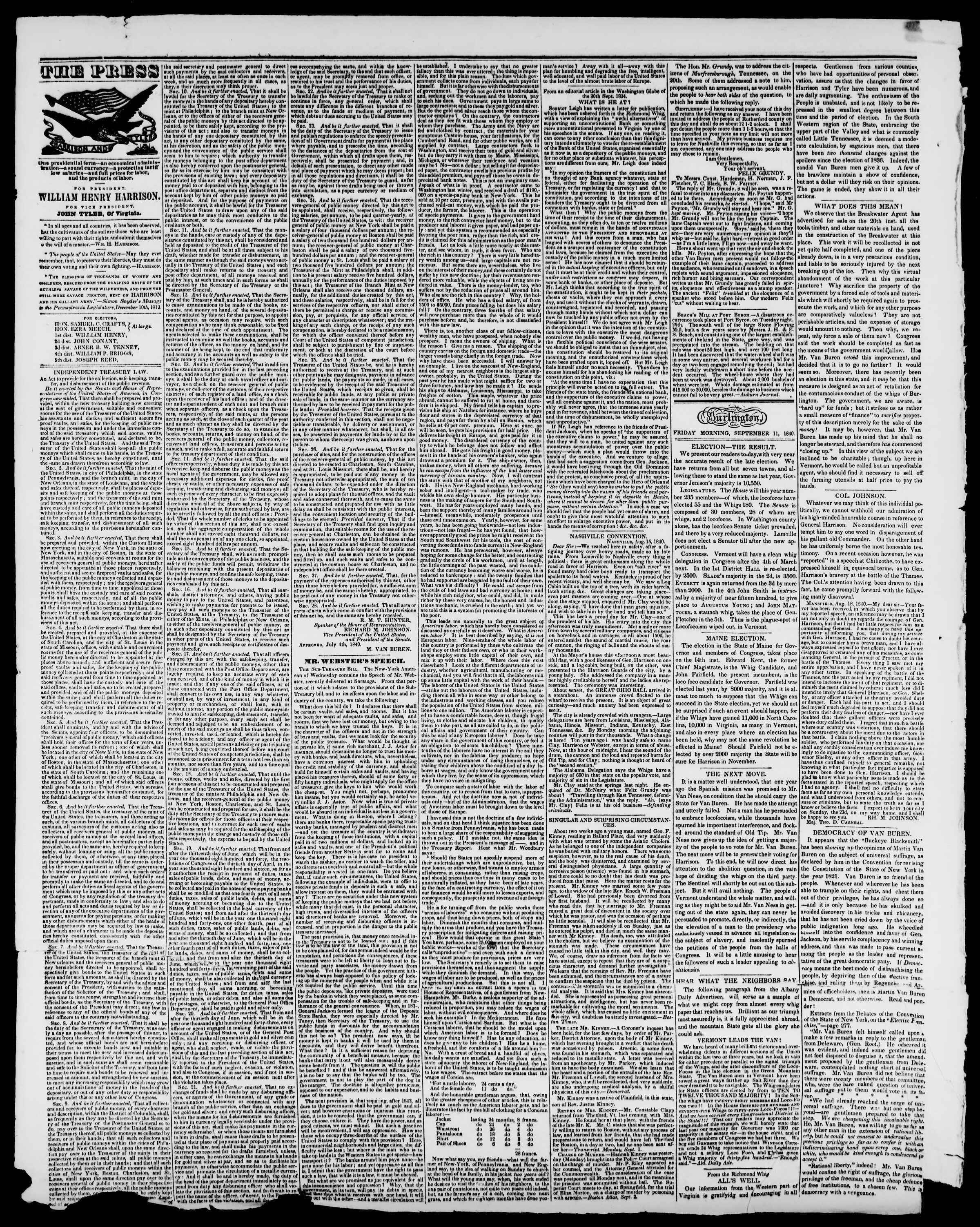 Newspaper of Burlington Free Press dated September 11, 1840 Page 2