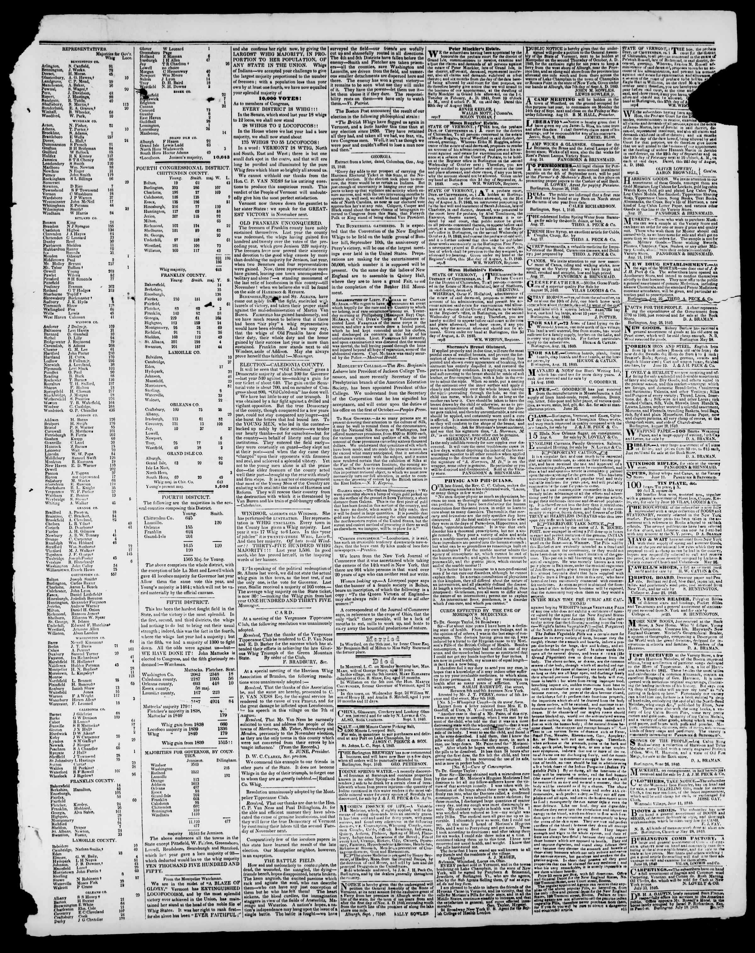 Newspaper of Burlington Free Press dated 11 Eylül 1840 Page 3