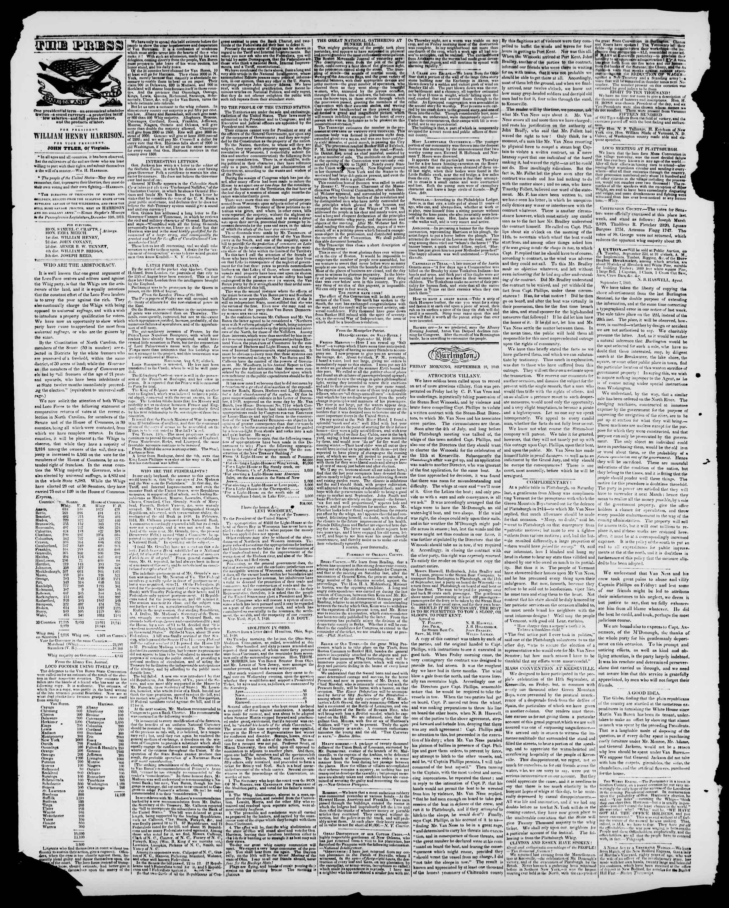 Newspaper of Burlington Free Press dated September 18, 1840 Page 2