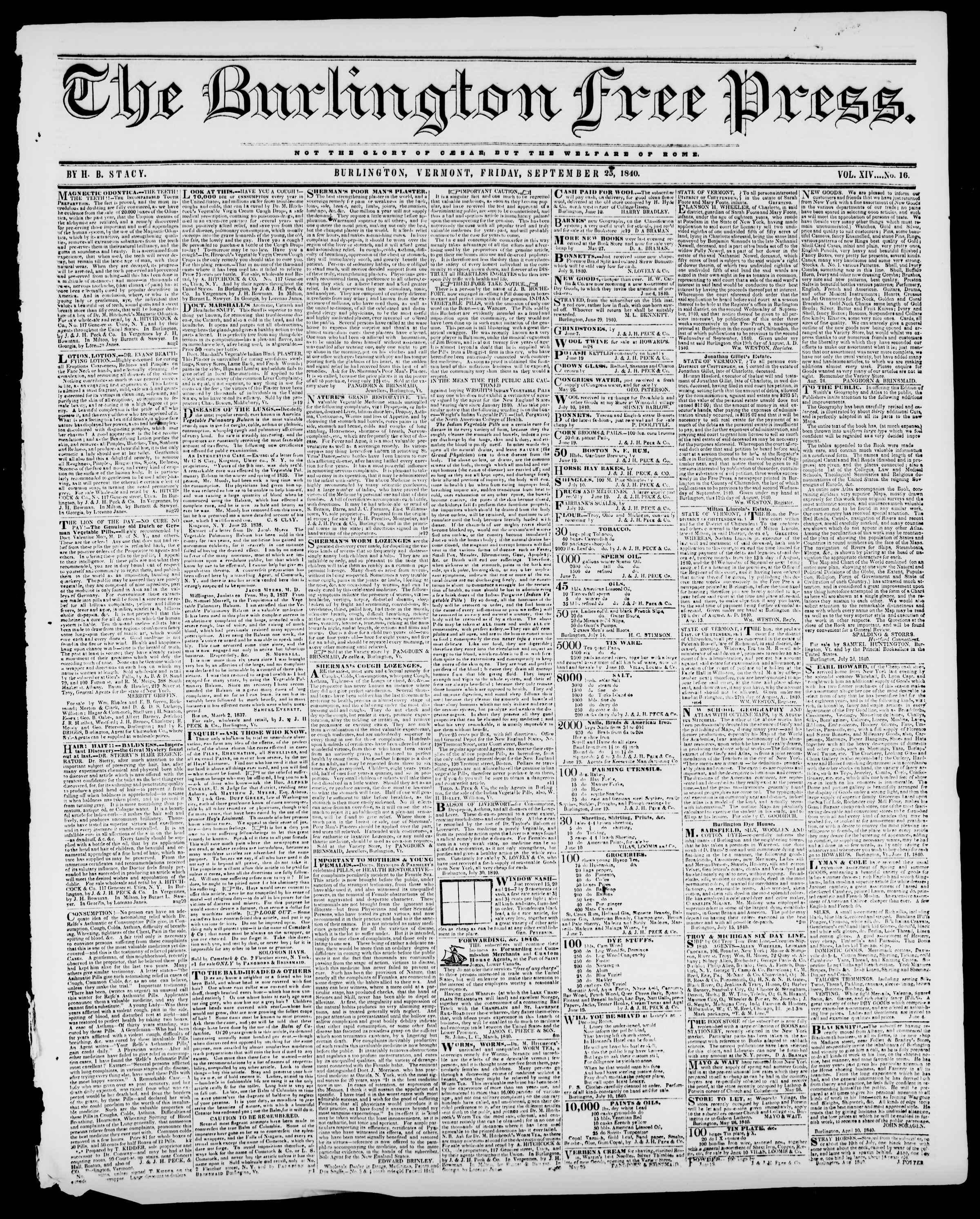 Newspaper of Burlington Free Press dated September 25, 1840 Page 1