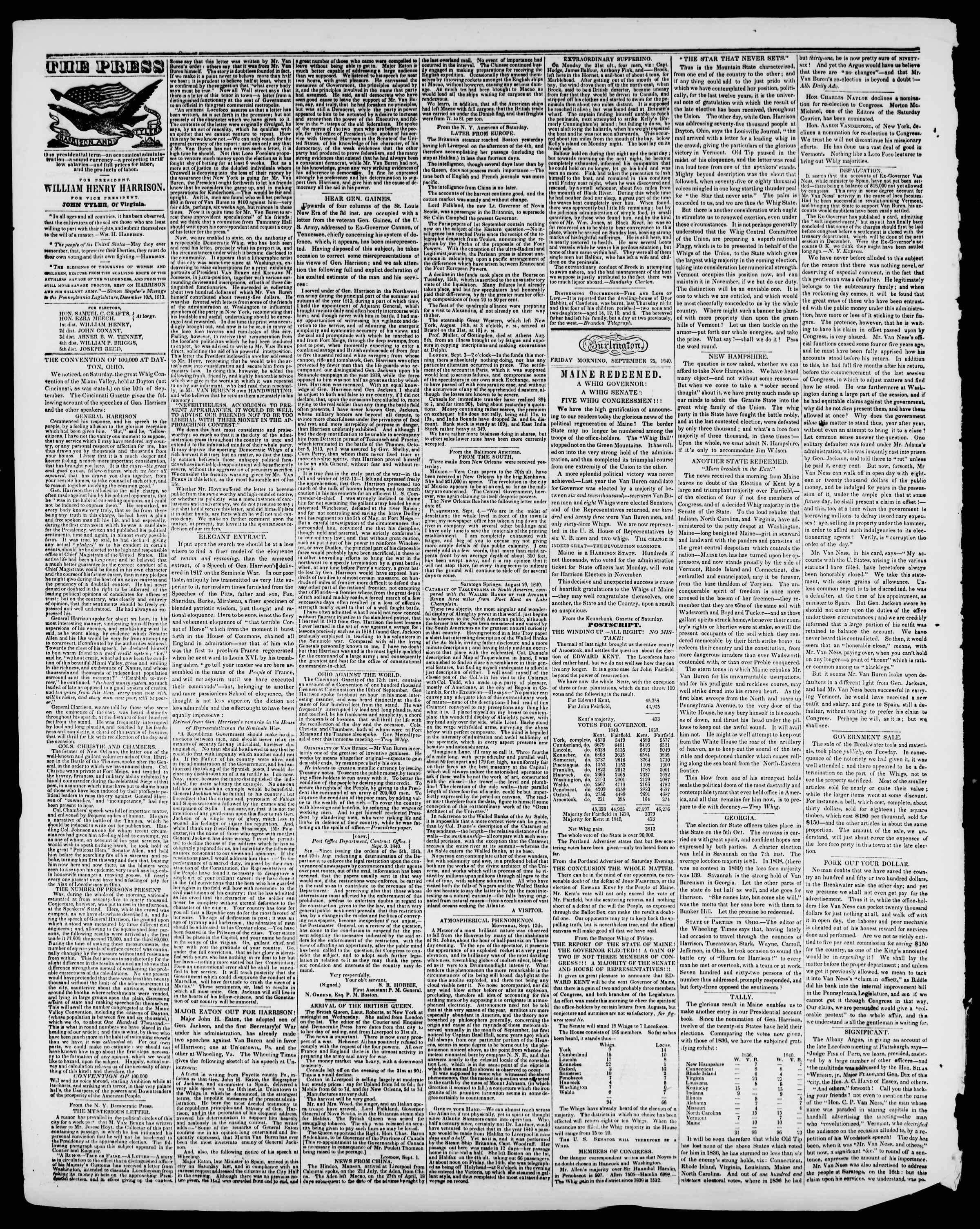 Newspaper of Burlington Free Press dated September 25, 1840 Page 2