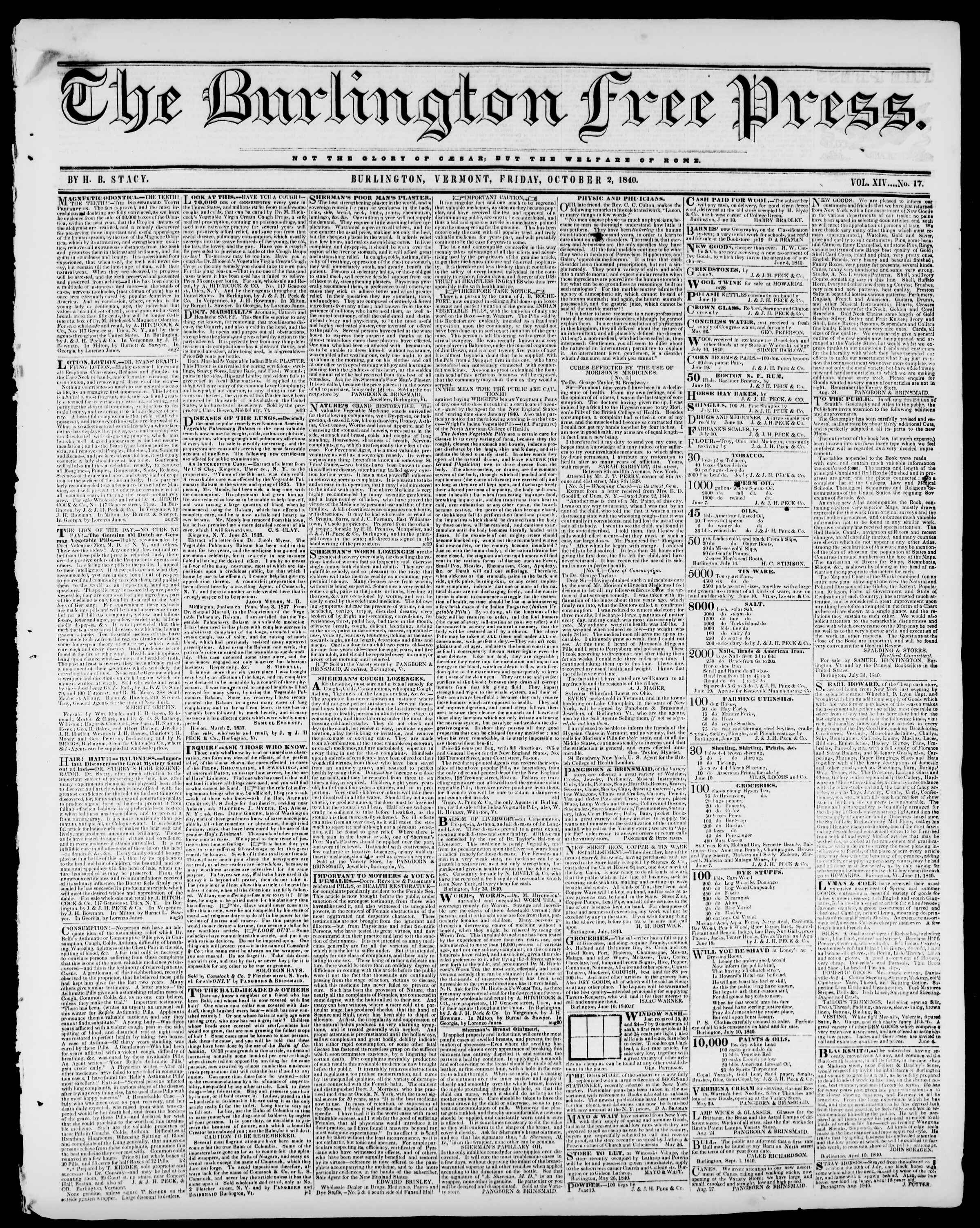 Newspaper of Burlington Free Press dated October 2, 1840 Page 1