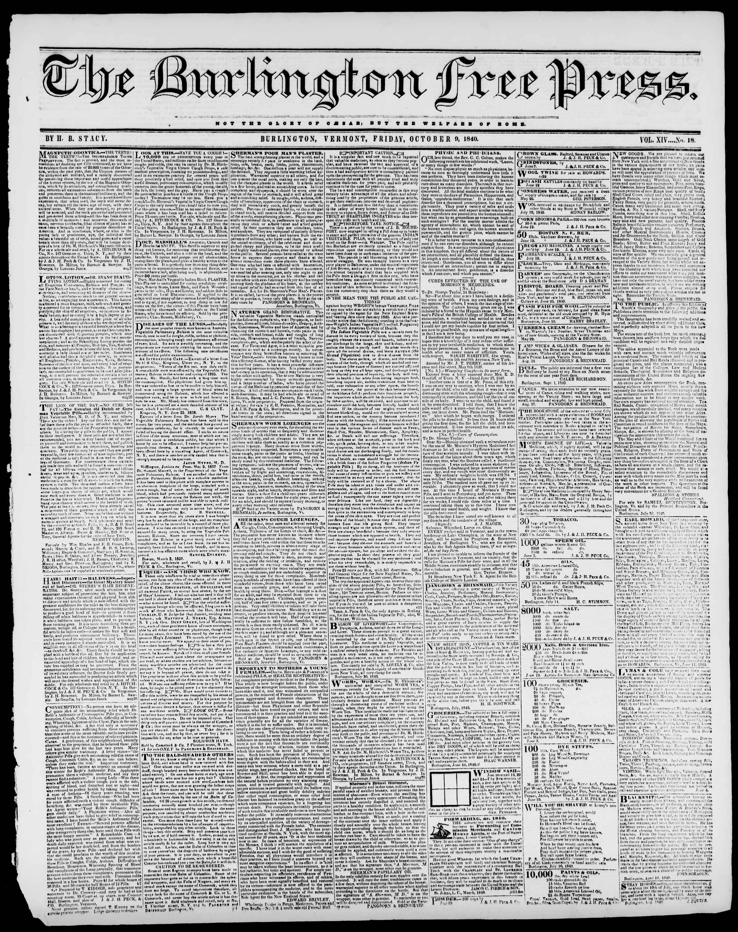 Newspaper of Burlington Free Press dated October 9, 1840 Page 1
