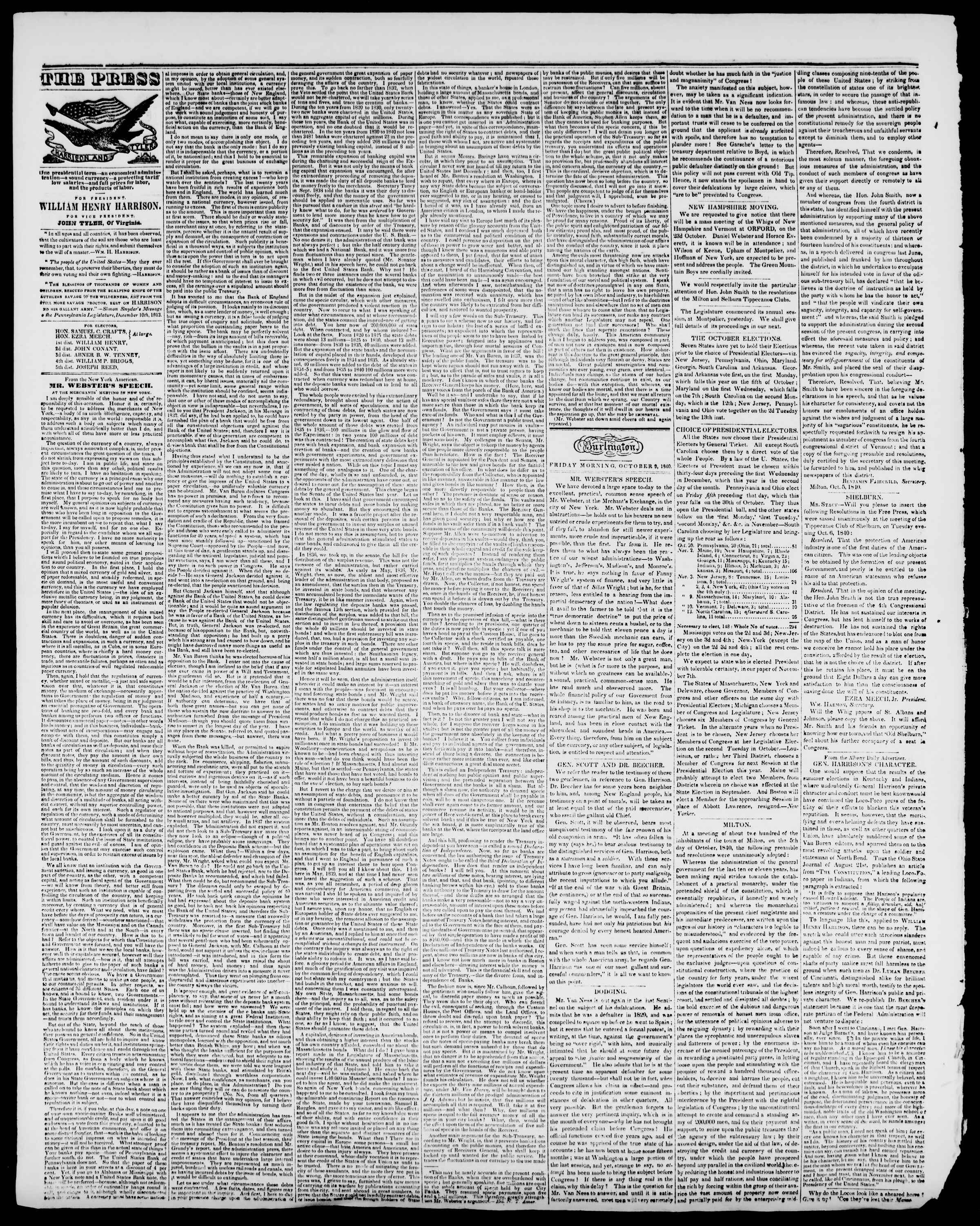 Newspaper of Burlington Free Press dated October 9, 1840 Page 2
