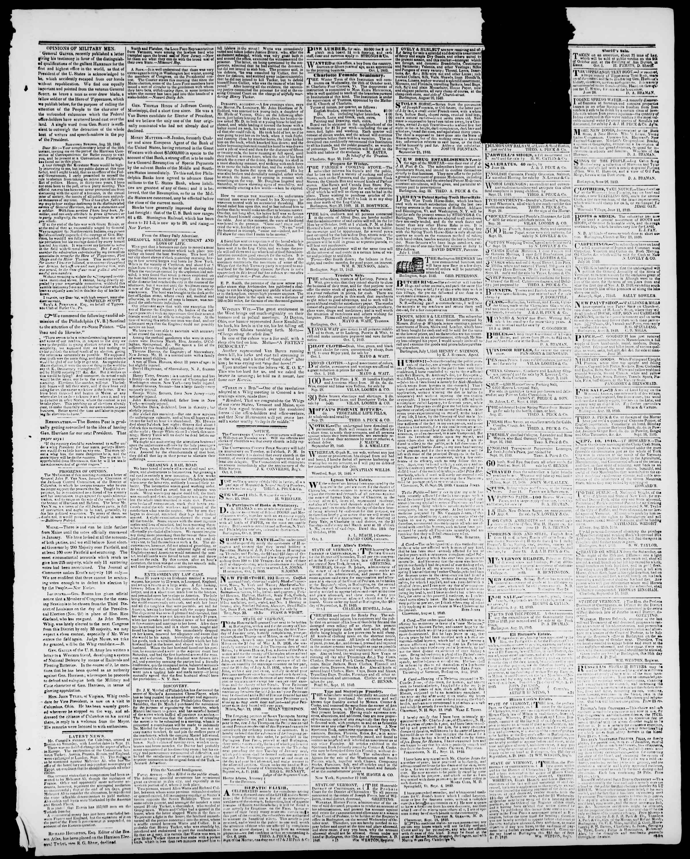 Newspaper of Burlington Free Press dated October 9, 1840 Page 3