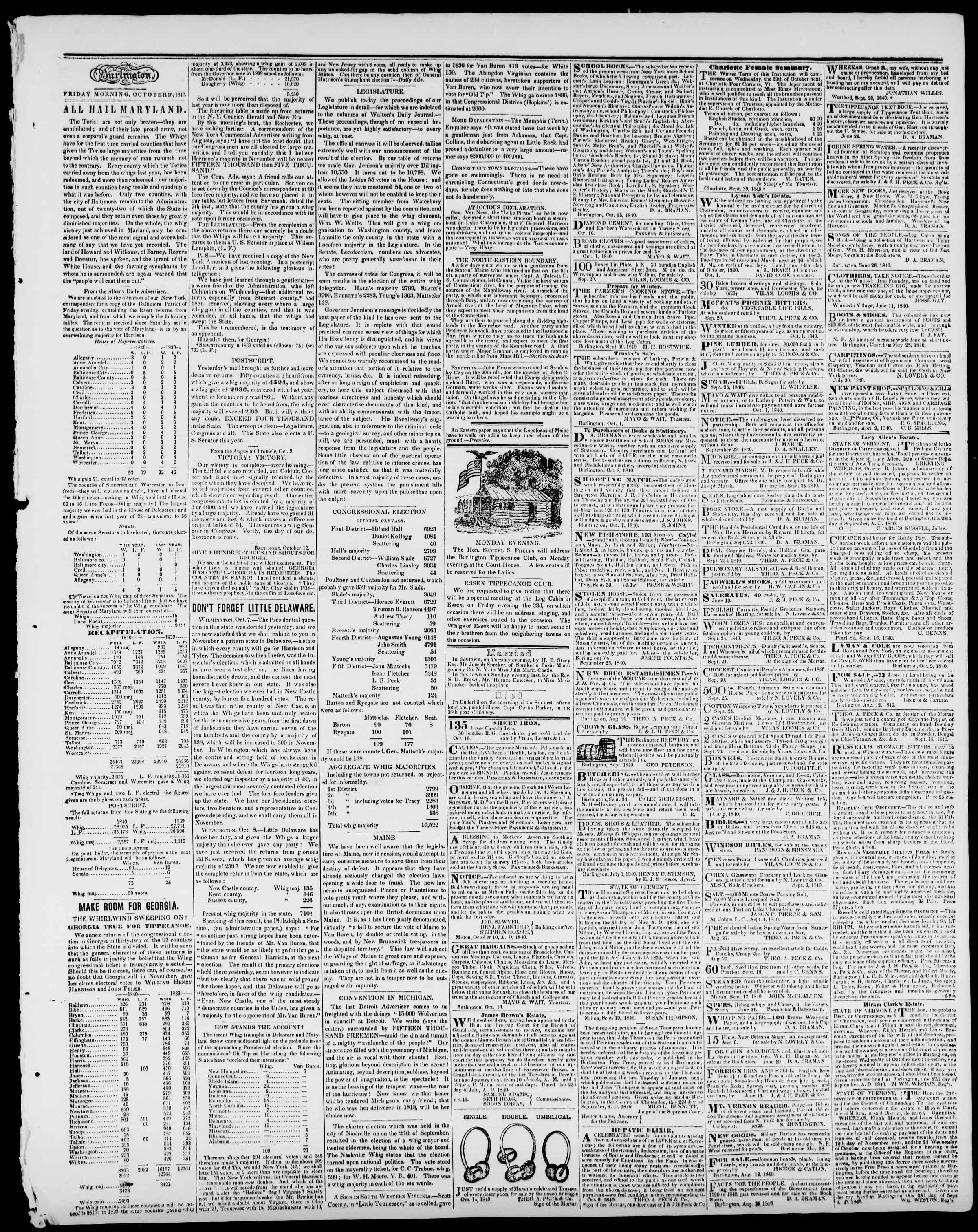 16 Ekim 1840 tarihli Burlington Free Press Gazetesi Sayfa 3