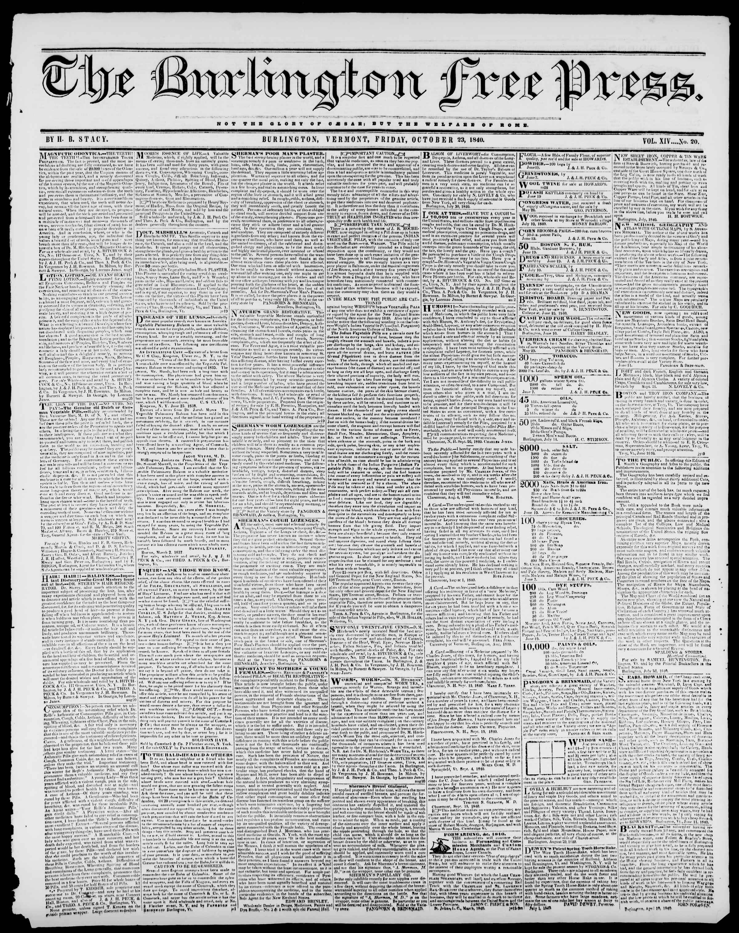 Newspaper of Burlington Free Press dated October 23, 1840 Page 1