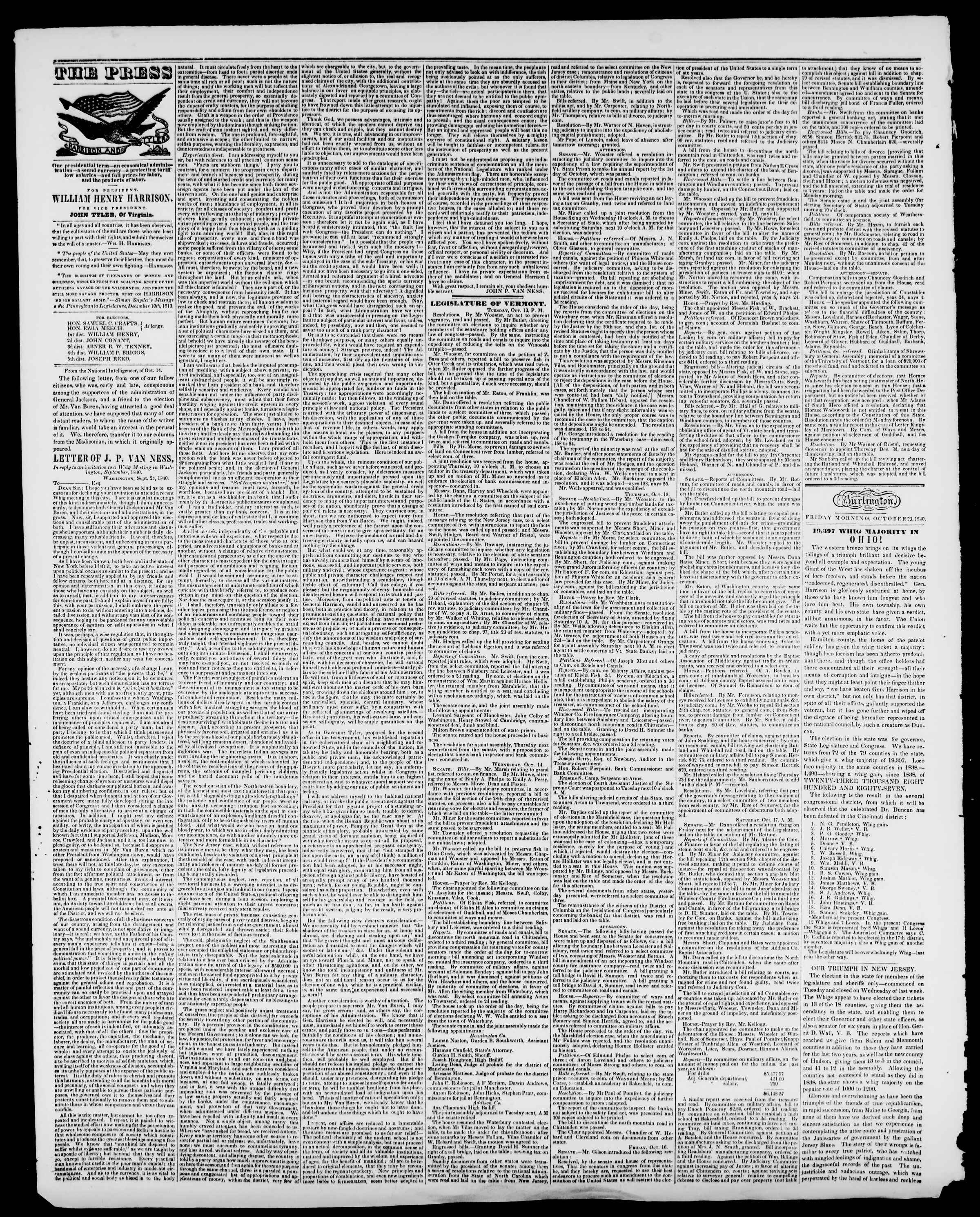 Newspaper of Burlington Free Press dated October 23, 1840 Page 2