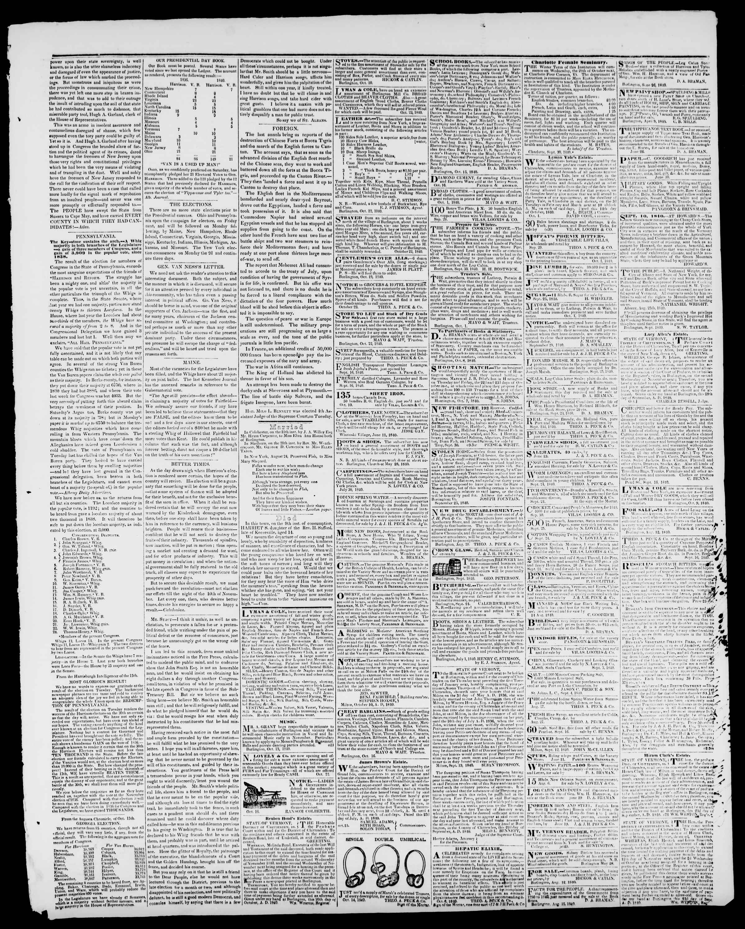 Newspaper of Burlington Free Press dated October 23, 1840 Page 3