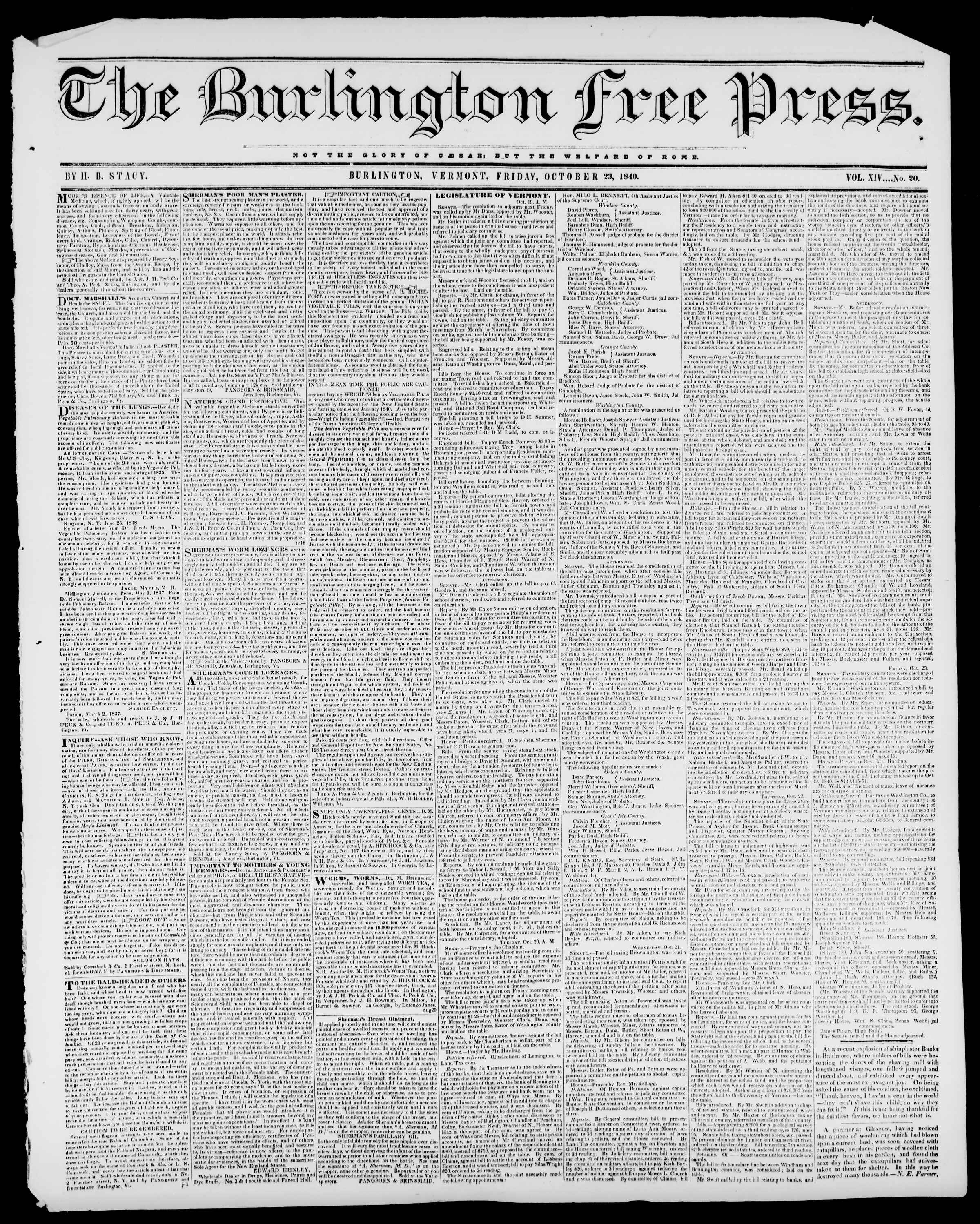 Newspaper of Burlington Free Press dated October 30, 1840 Page 1