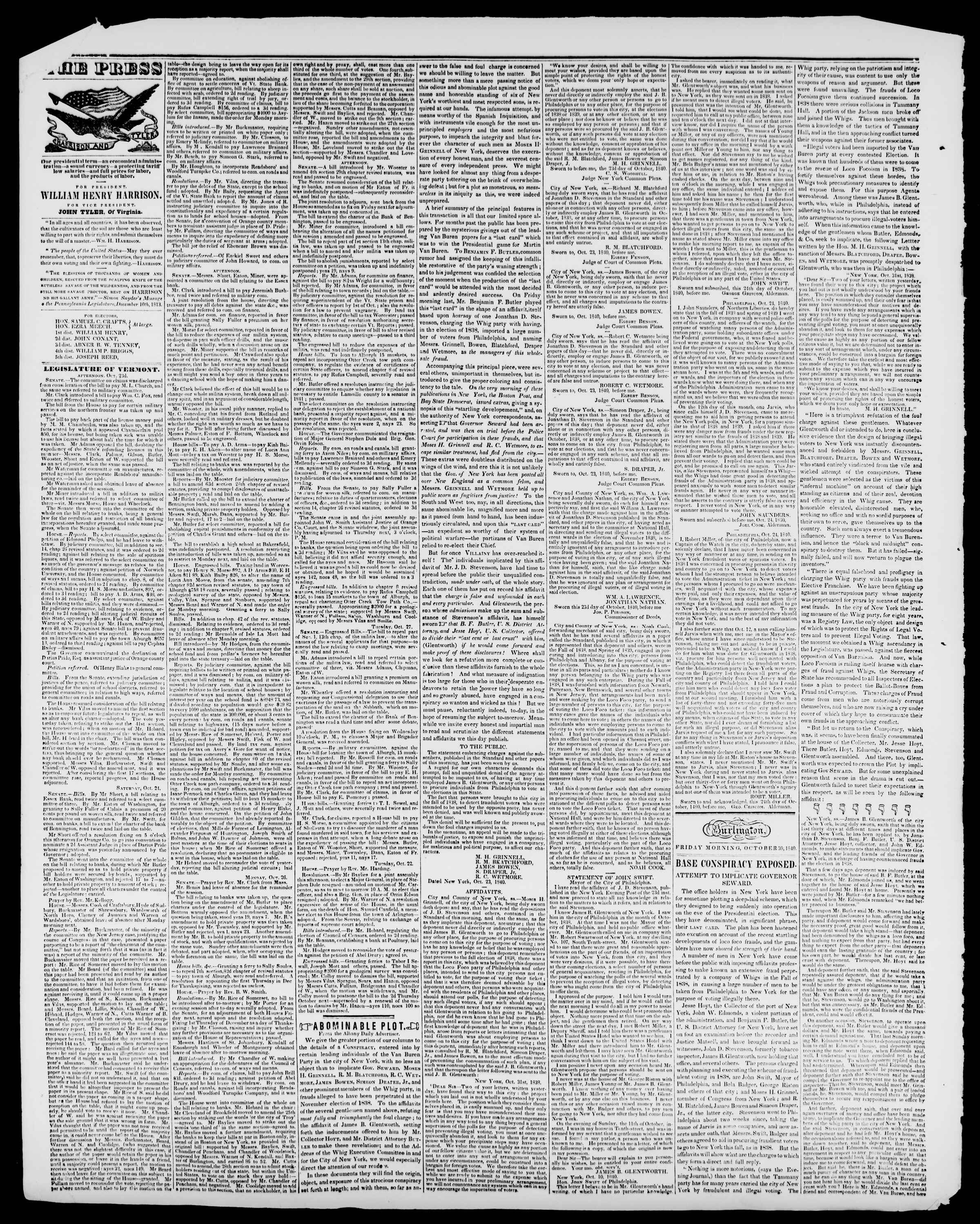 Newspaper of Burlington Free Press dated October 30, 1840 Page 2