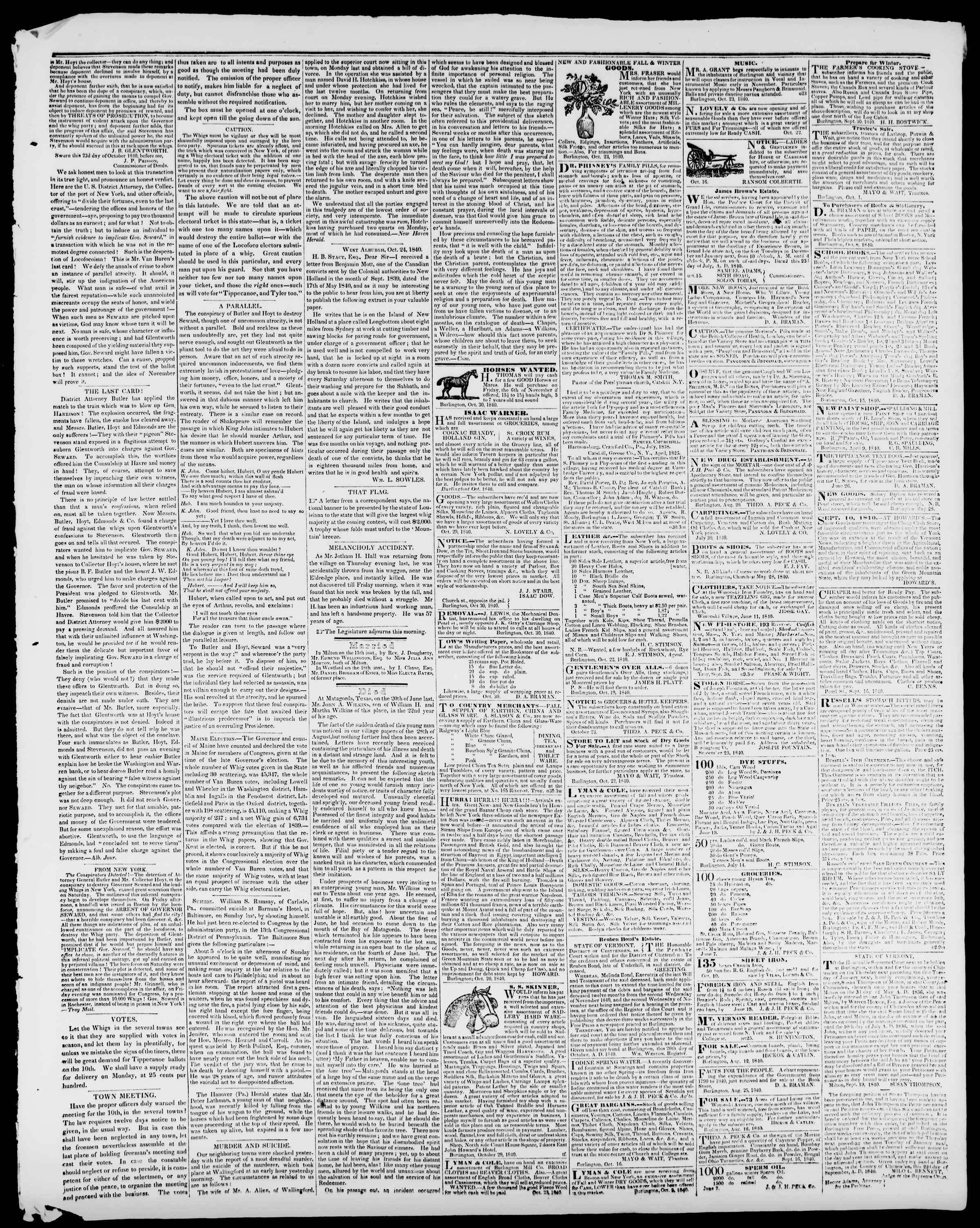 Newspaper of Burlington Free Press dated October 30, 1840 Page 3