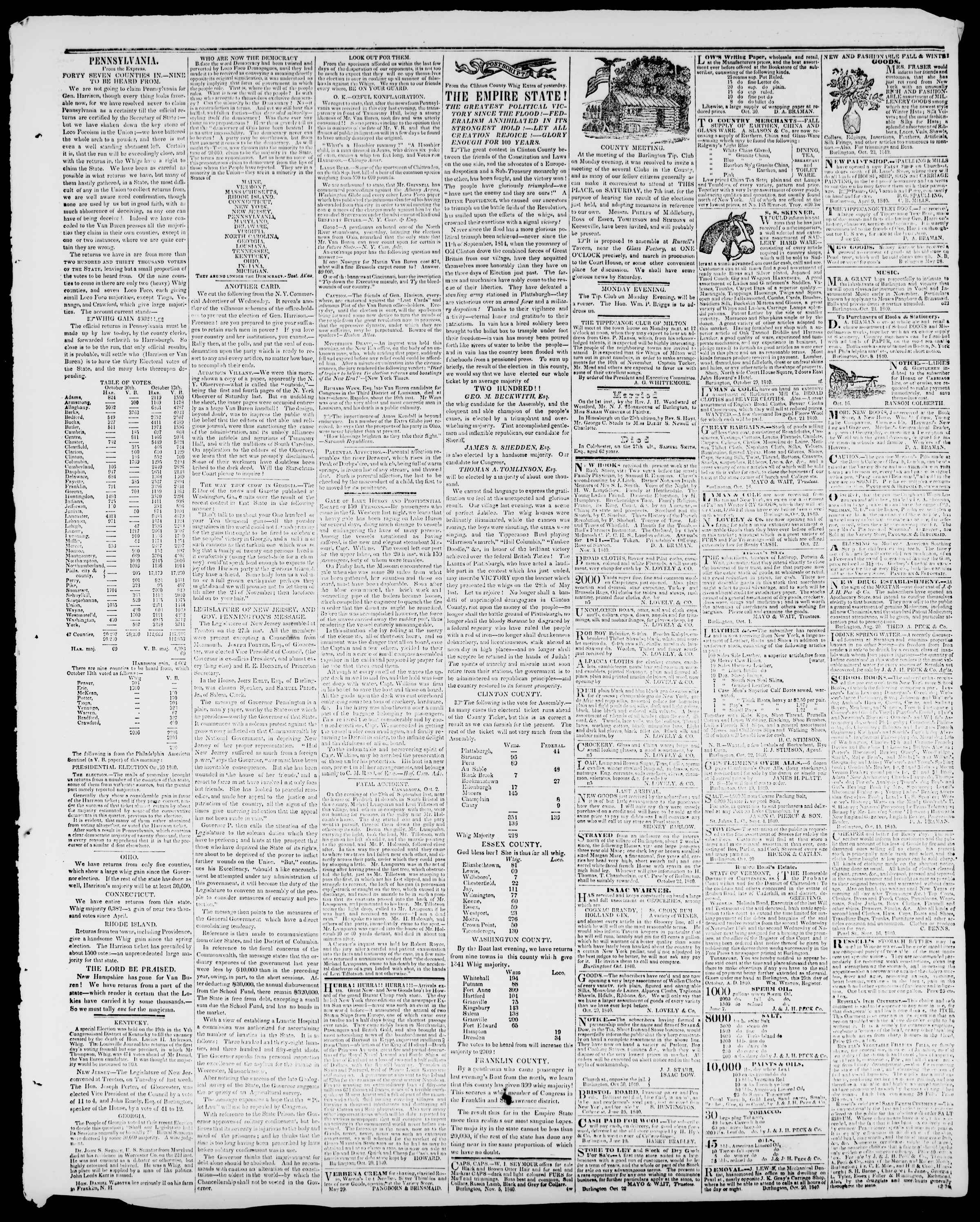 Newspaper of Burlington Free Press dated November 6, 1840 Page 3