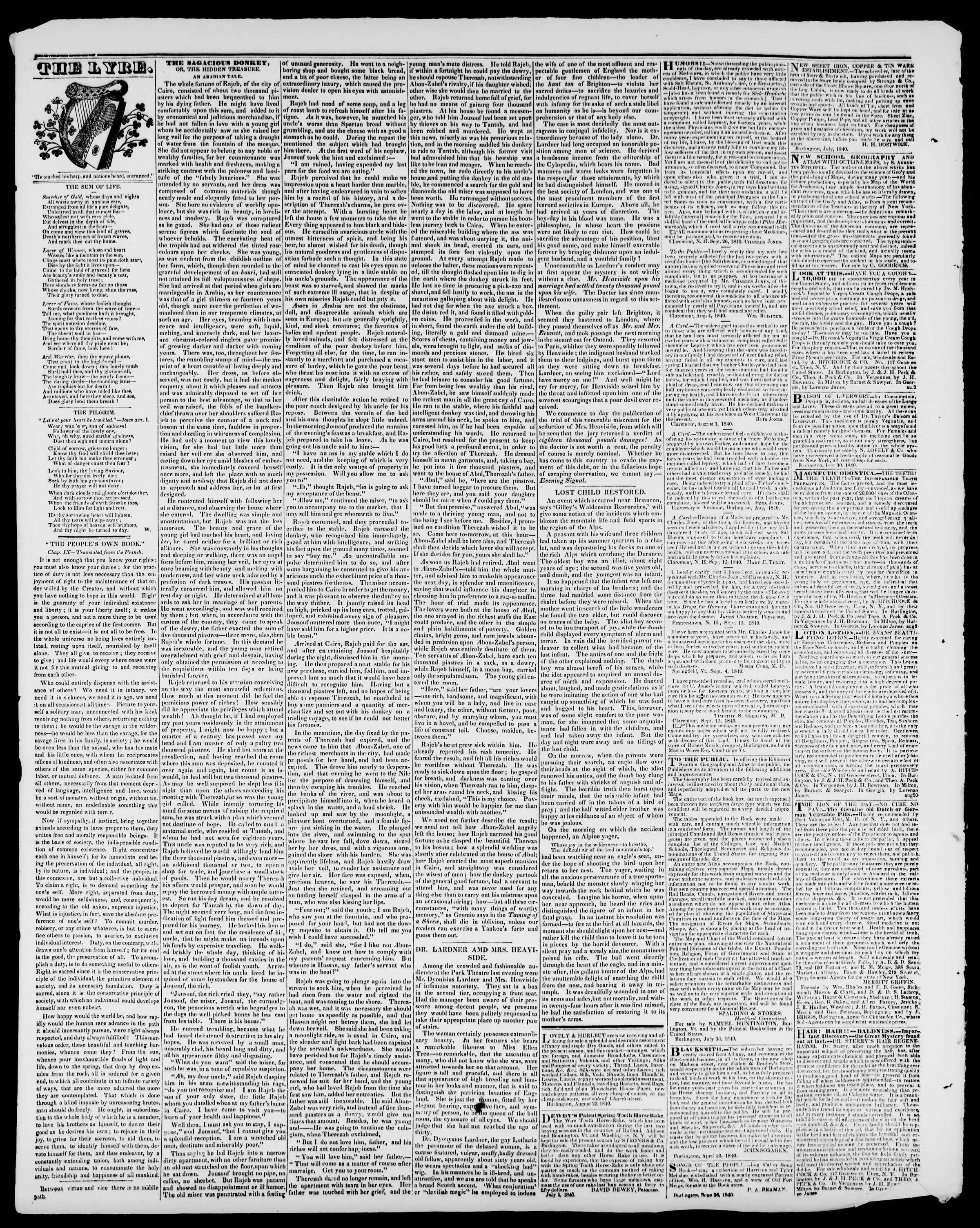 Newspaper of Burlington Free Press dated November 6, 1840 Page 4