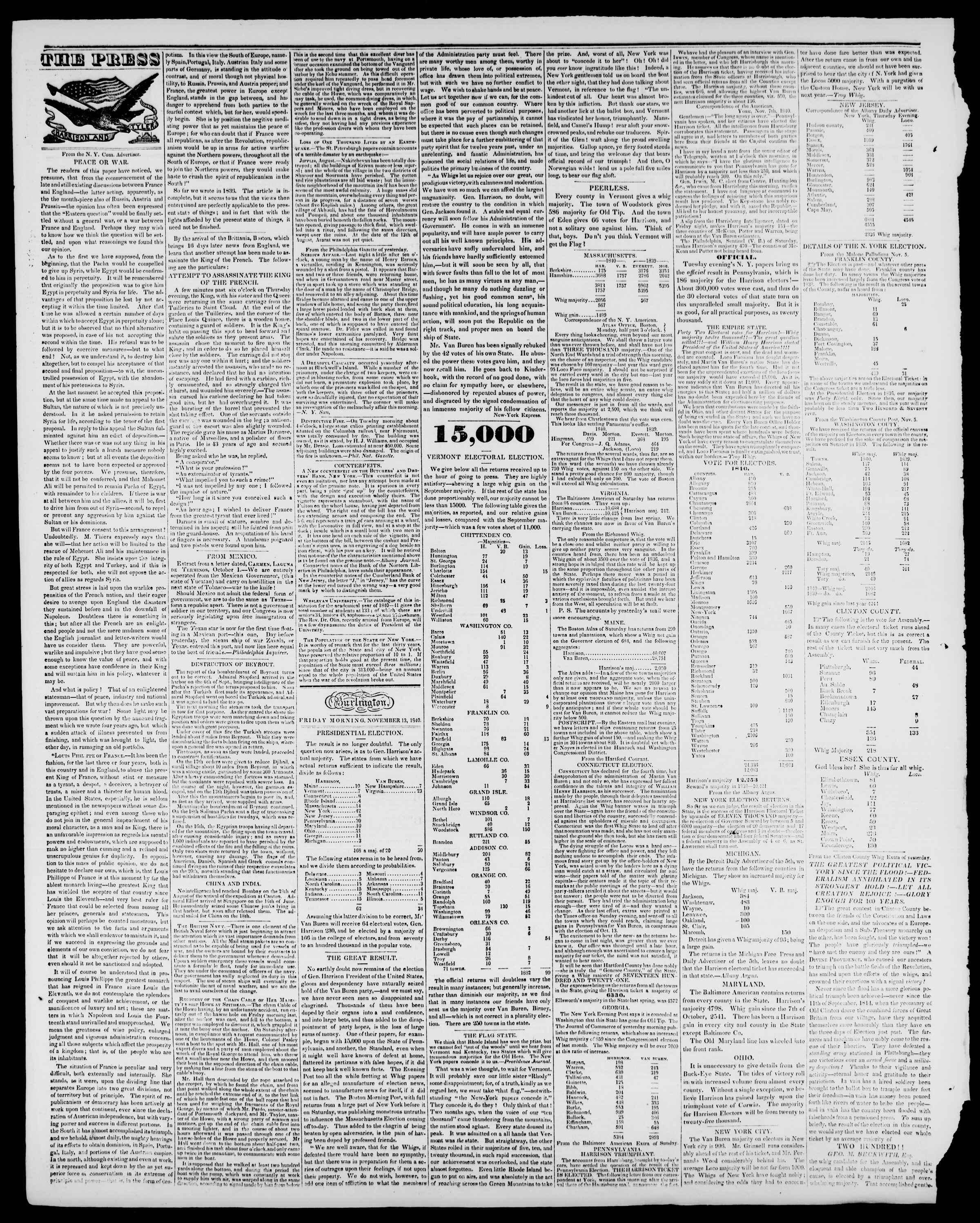 Newspaper of Burlington Free Press dated November 13, 1840 Page 2