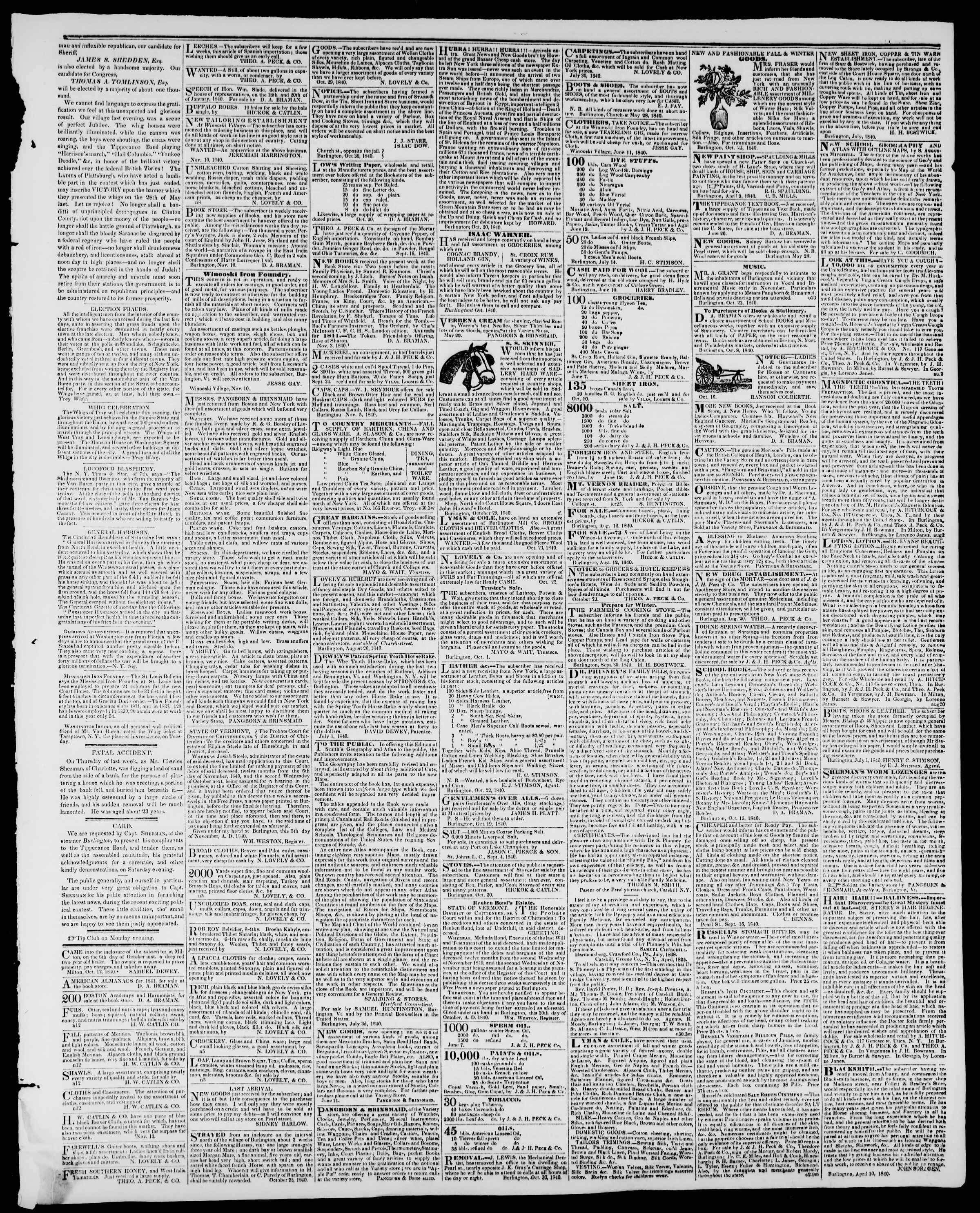 Newspaper of Burlington Free Press dated November 13, 1840 Page 3