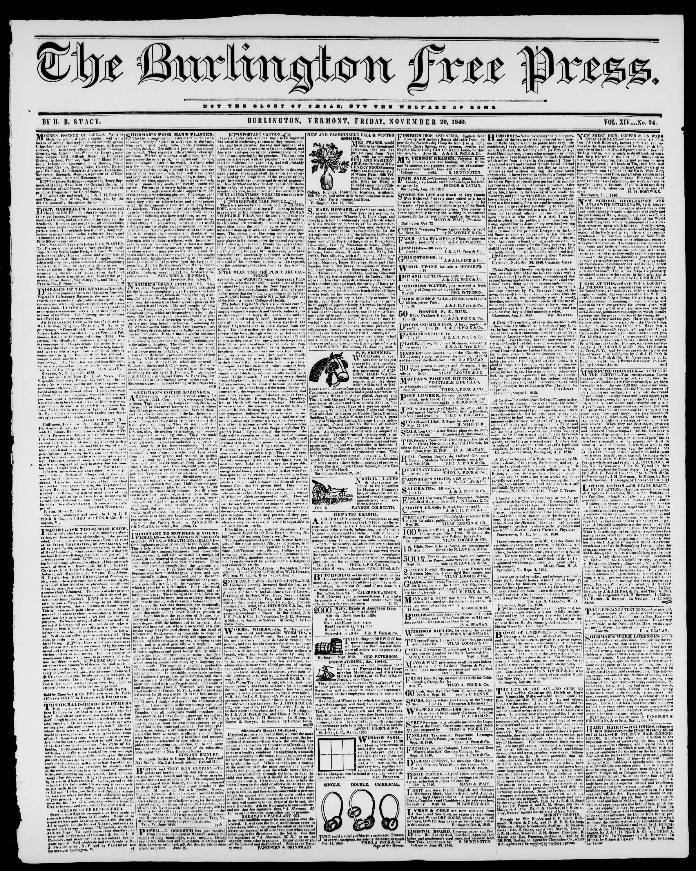 Newspaper of Burlington Free Press dated November 20, 1840 Page 1