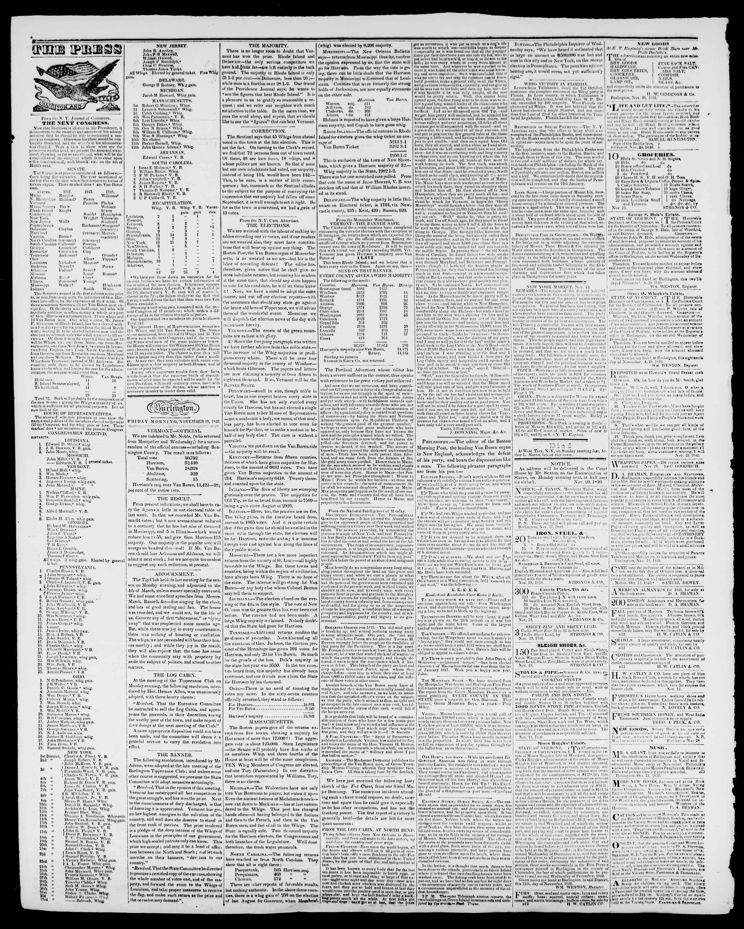 Newspaper of Burlington Free Press dated November 20, 1840 Page 2