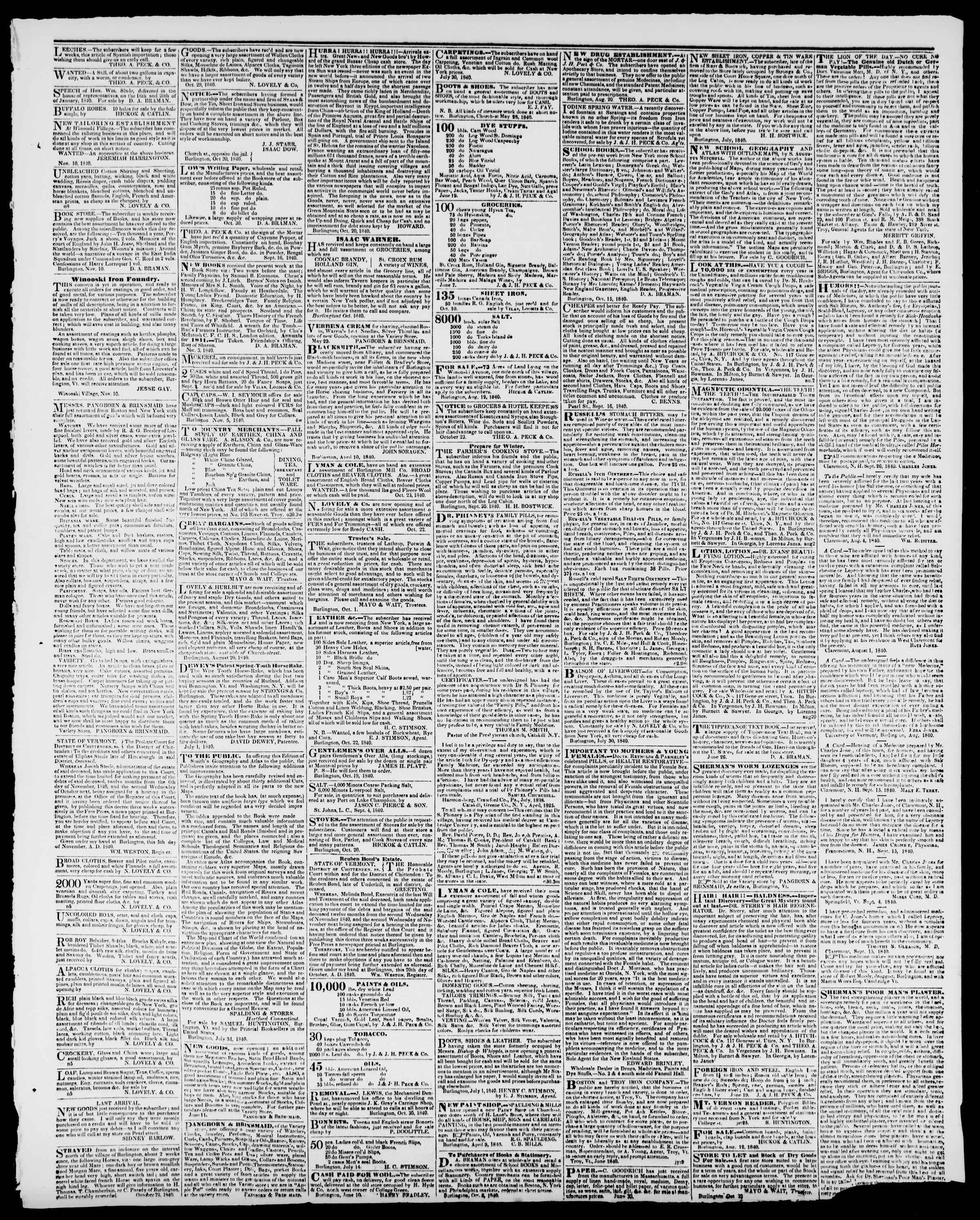Newspaper of Burlington Free Press dated November 20, 1840 Page 3