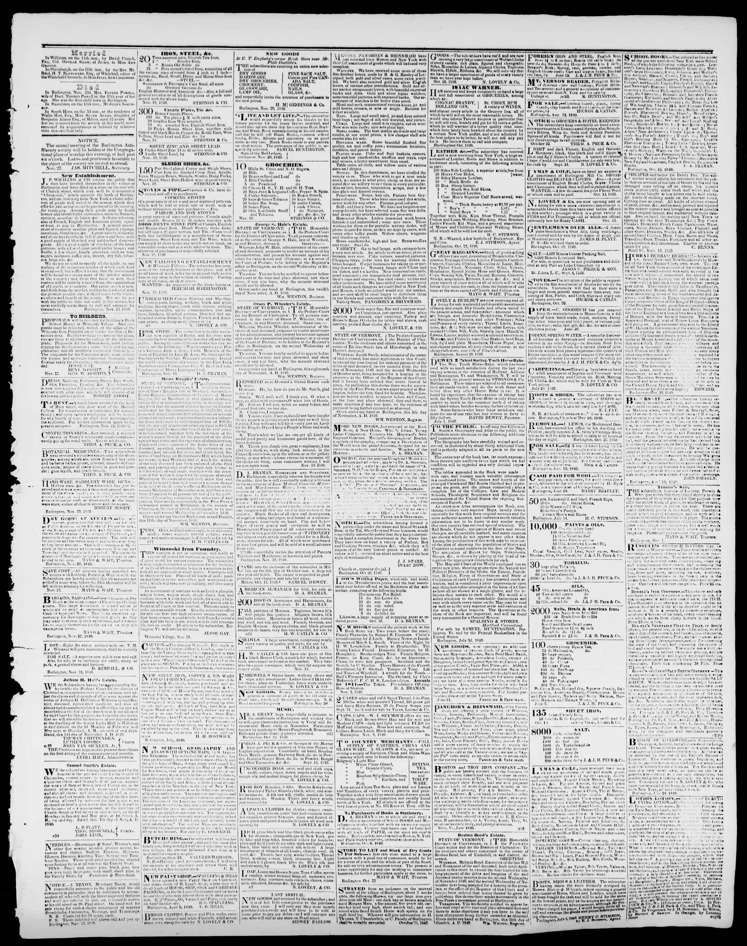 Newspaper of Burlington Free Press dated November 27, 1840 Page 3
