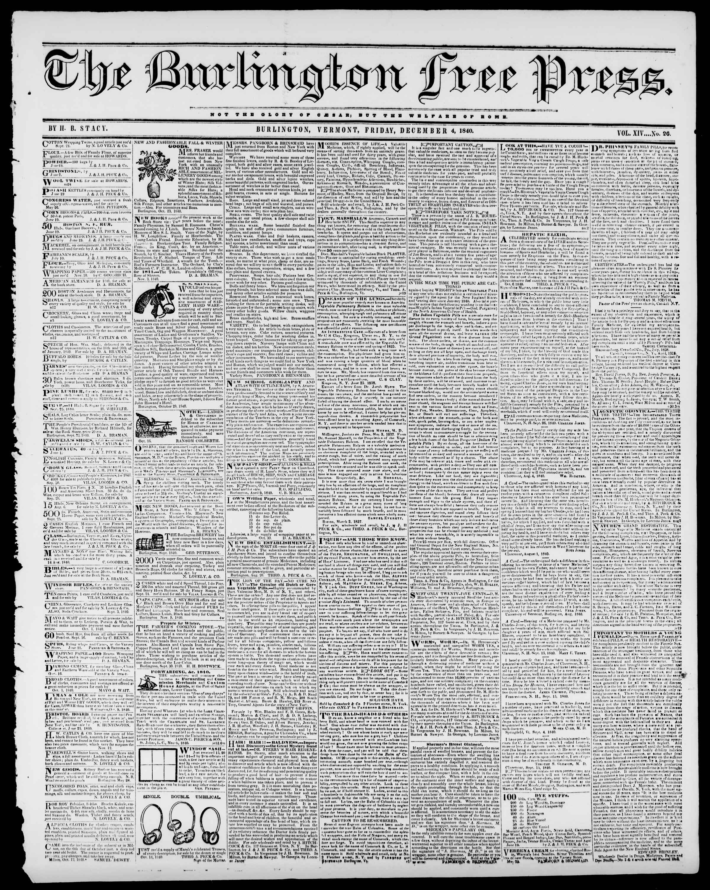 Newspaper of Burlington Free Press dated December 4, 1840 Page 1