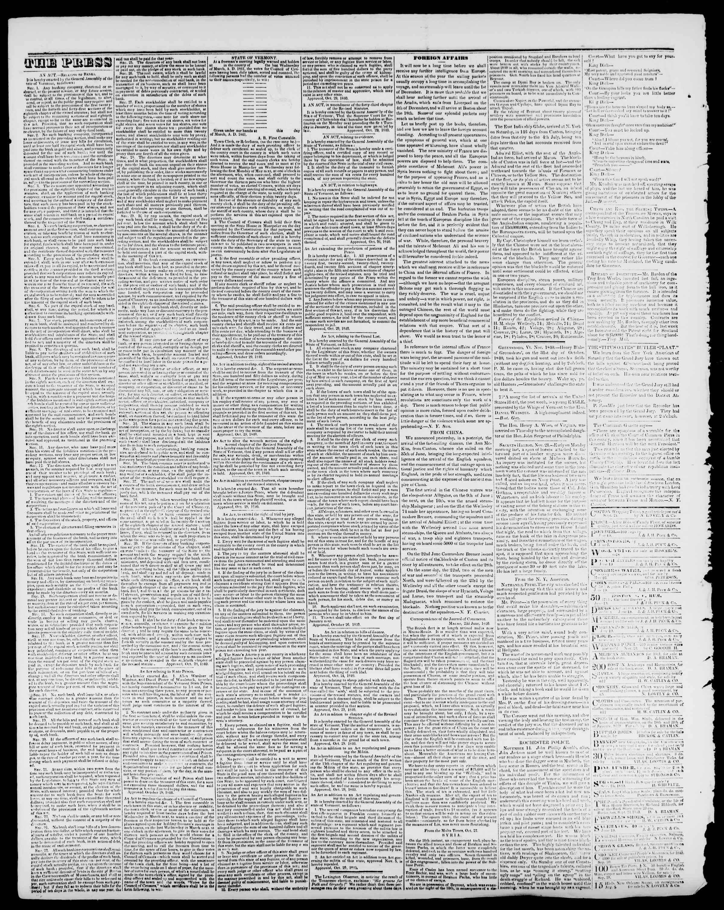 Newspaper of Burlington Free Press dated December 4, 1840 Page 2