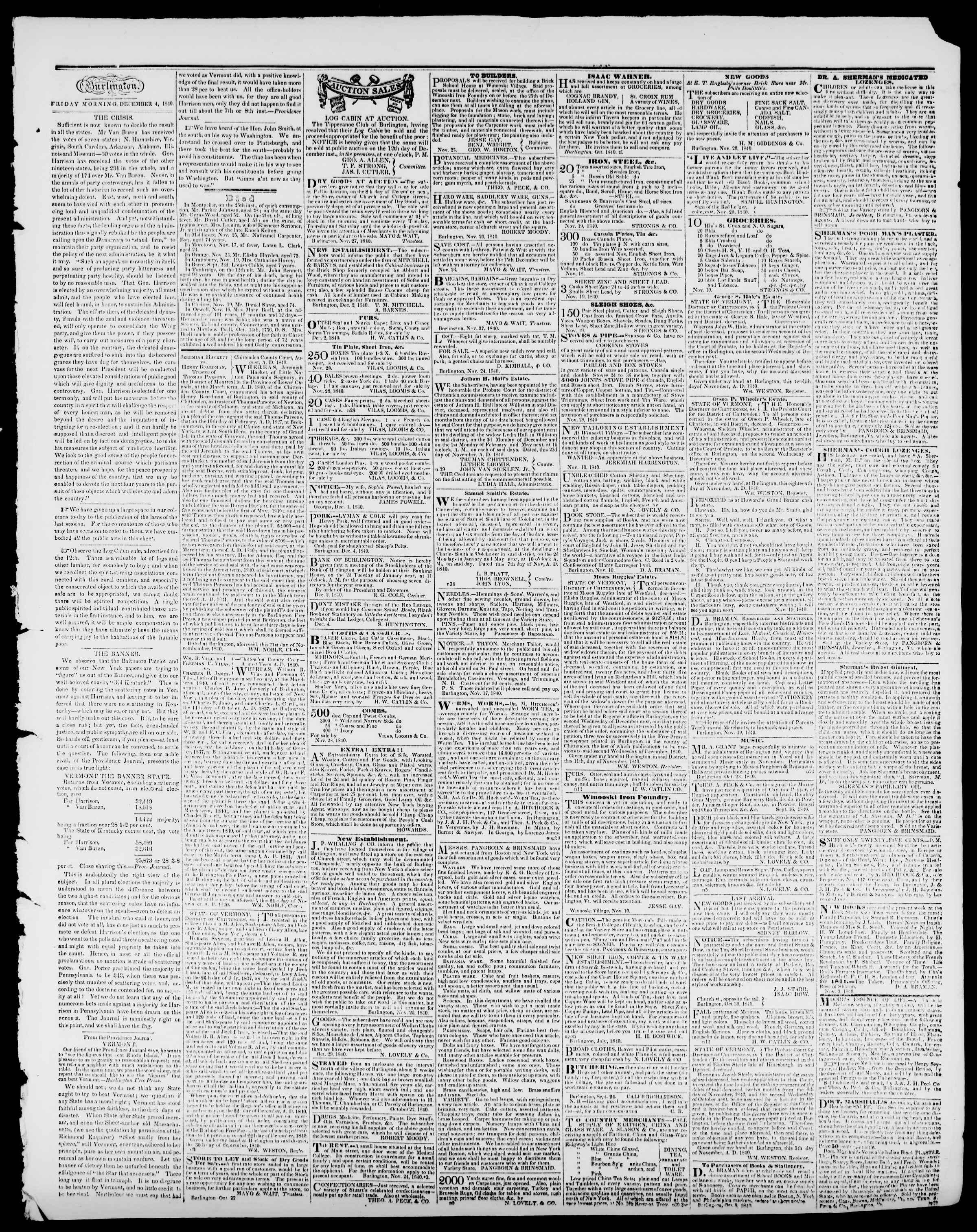 Newspaper of Burlington Free Press dated December 4, 1840 Page 3