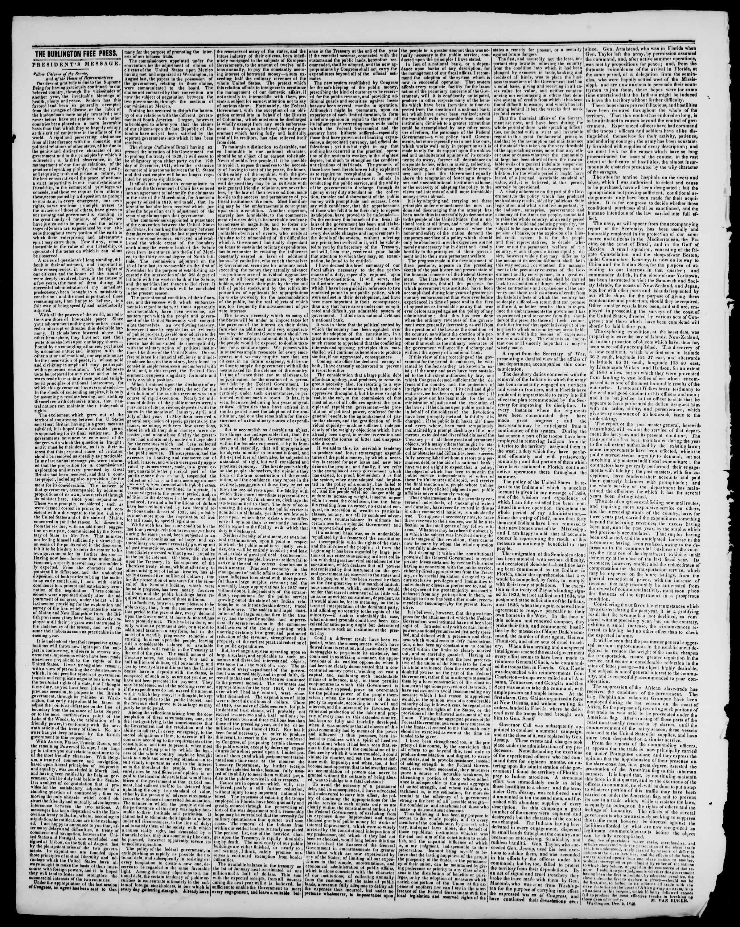 Newspaper of Burlington Free Press dated December 18, 1840 Page 2