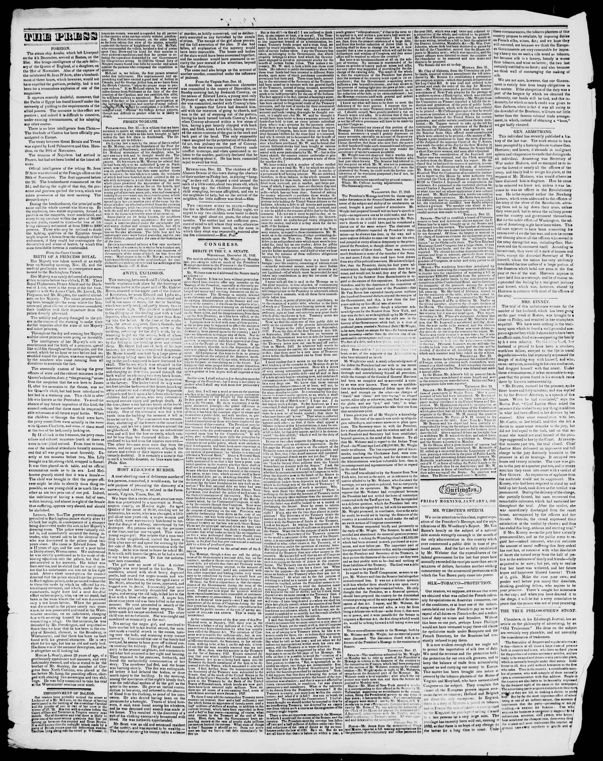 Newspaper of Burlington Free Press dated January 1, 1841 Page 2