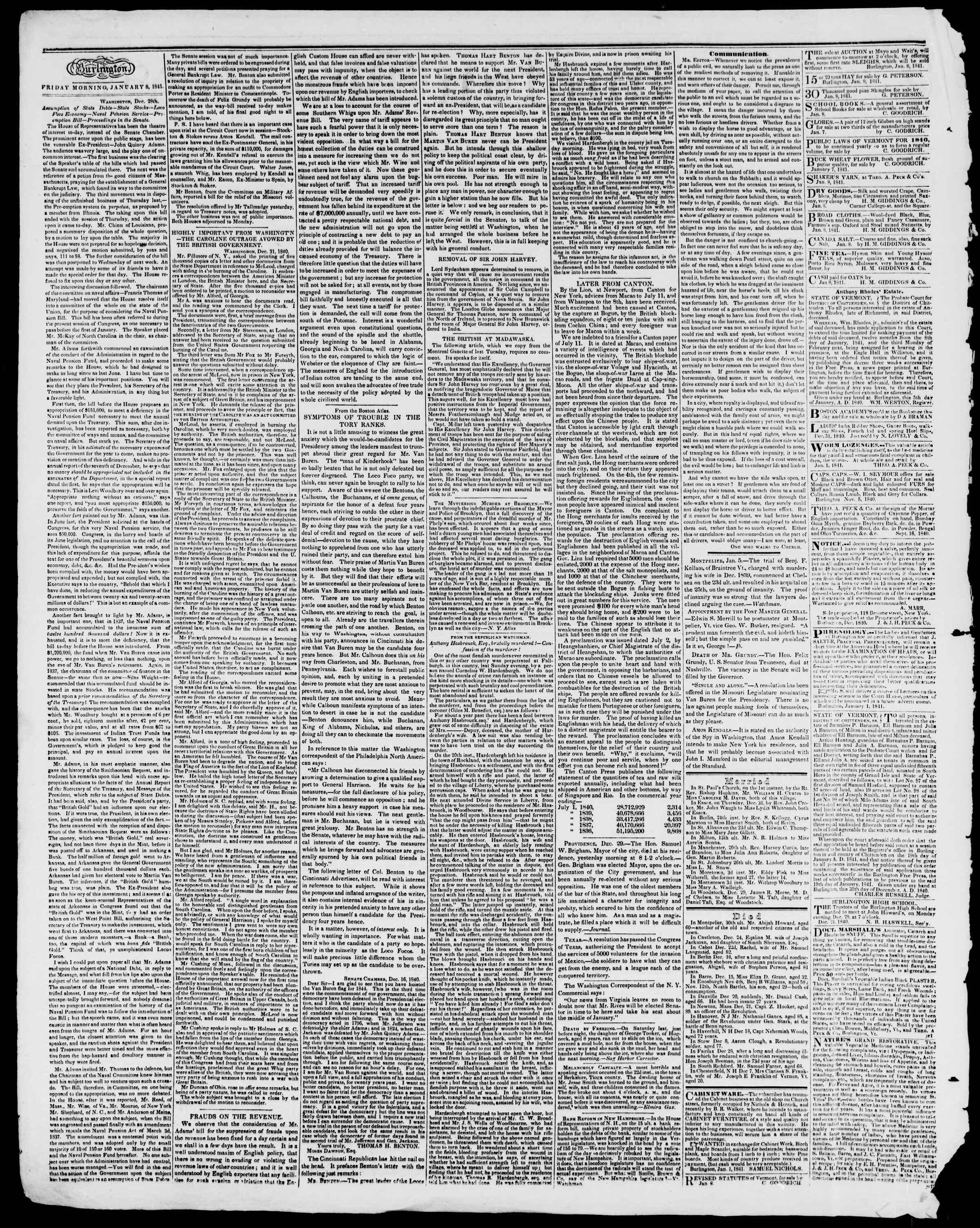 Newspaper of Burlington Free Press dated January 8, 1841 Page 2