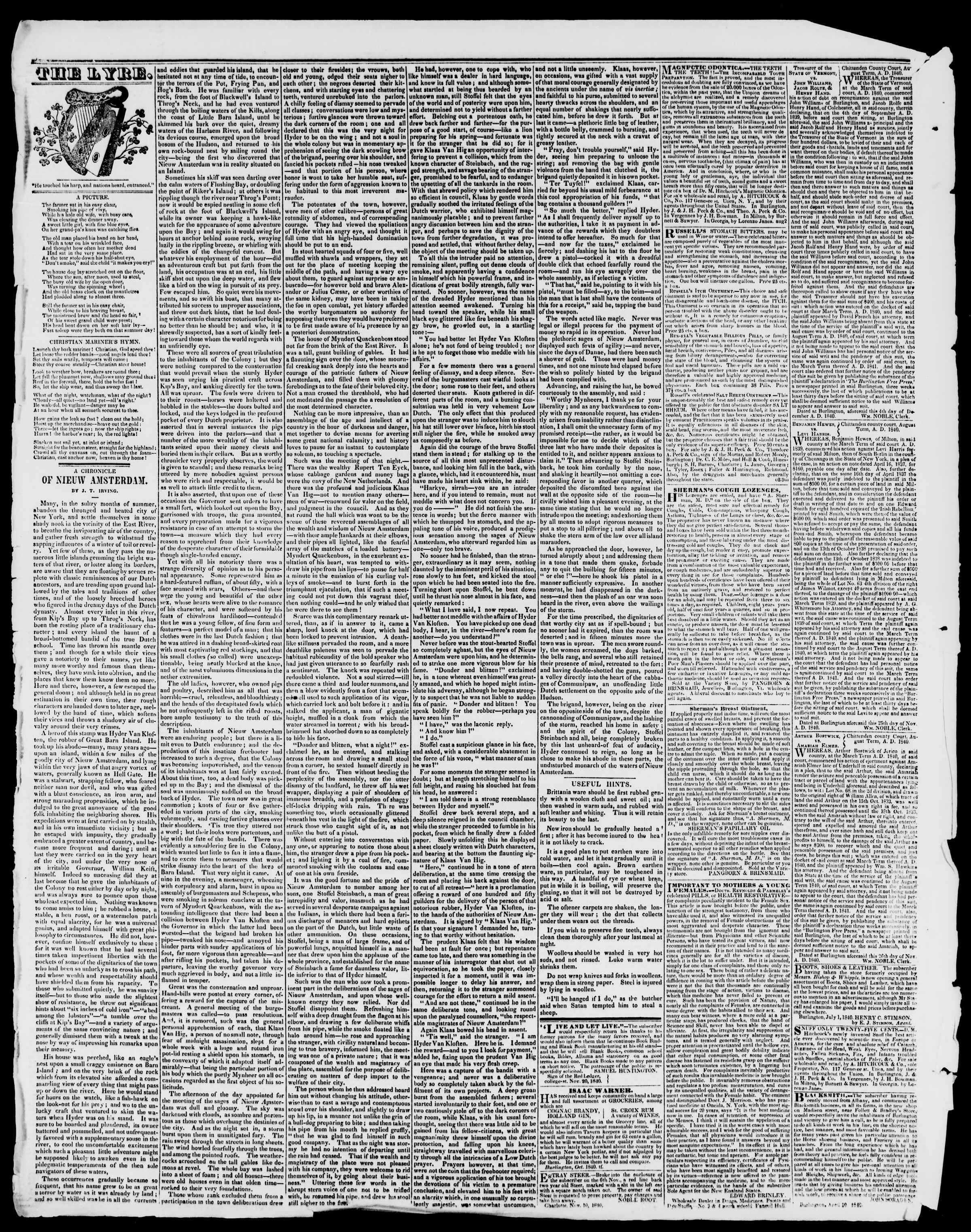 Newspaper of Burlington Free Press dated January 15, 1841 Page 4
