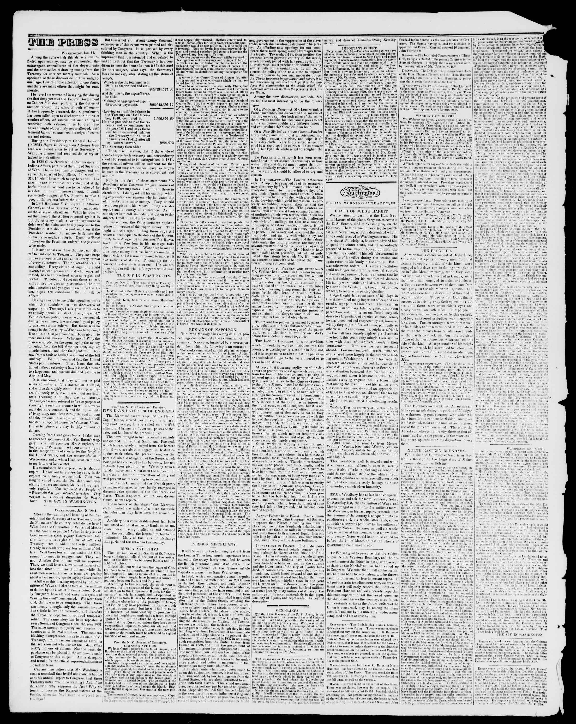 22 Ocak 1841 tarihli Burlington Free Press Gazetesi Sayfa 2