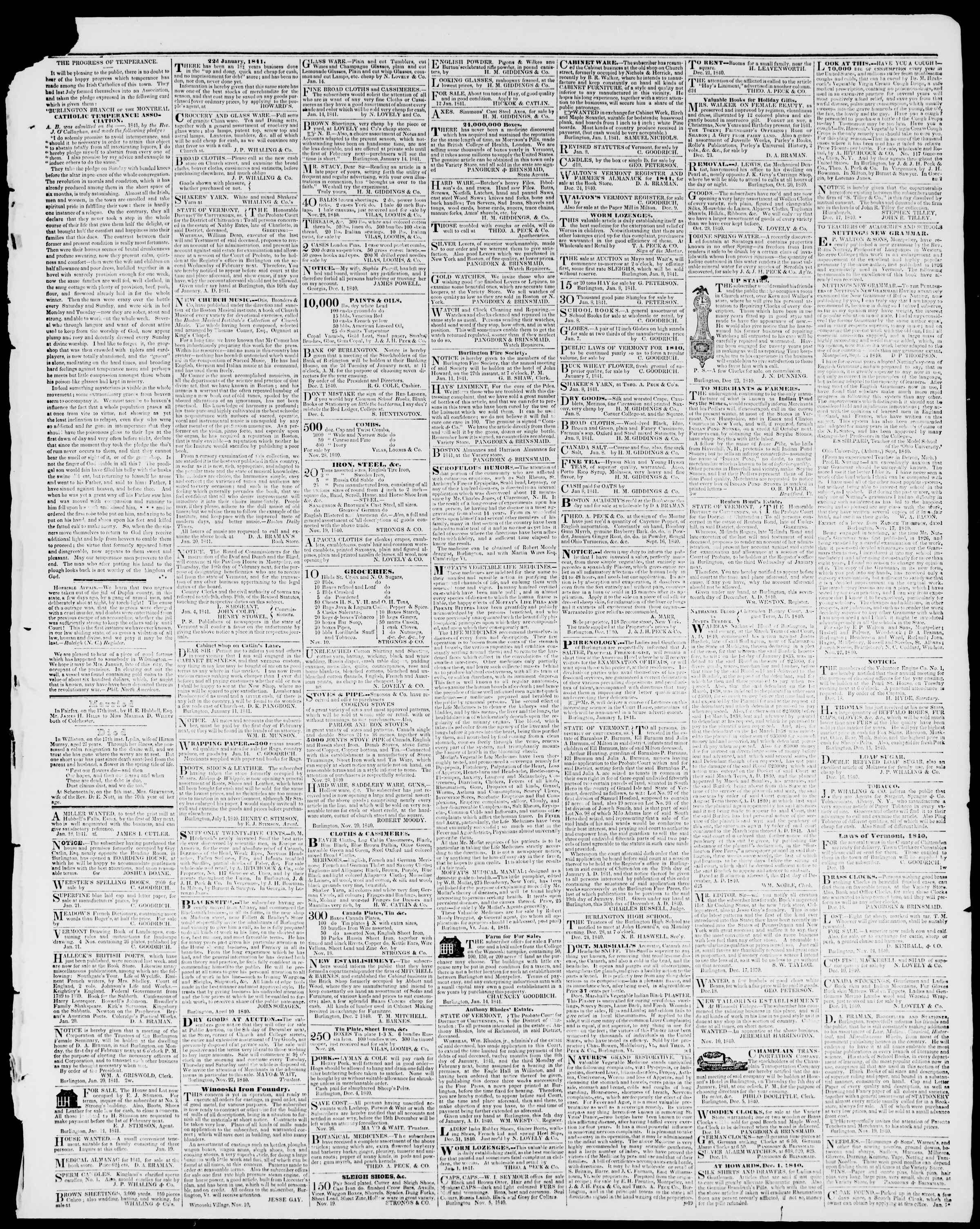 Newspaper of Burlington Free Press dated January 22, 1841 Page 3