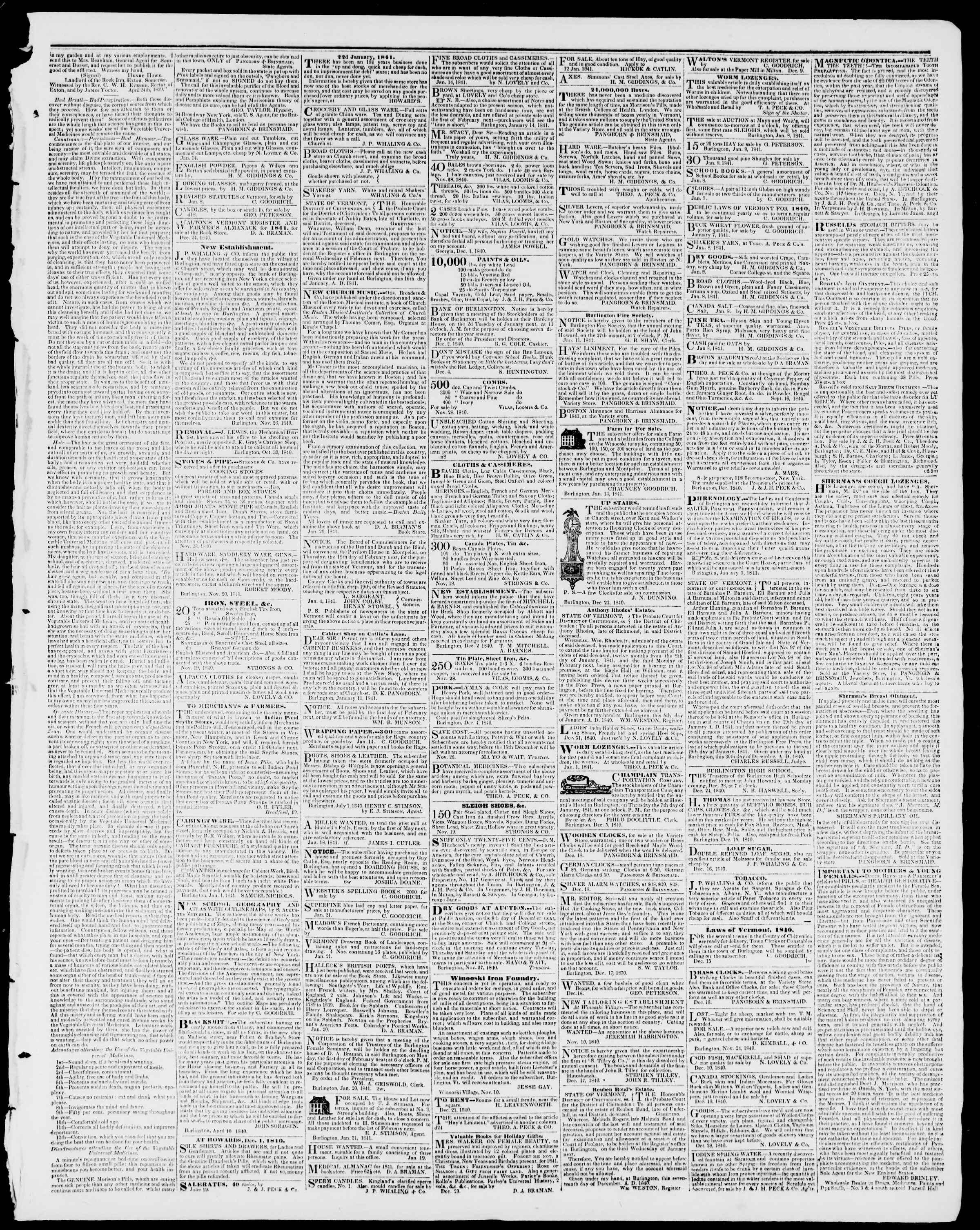 Newspaper of Burlington Free Press dated January 29, 1841 Page 3