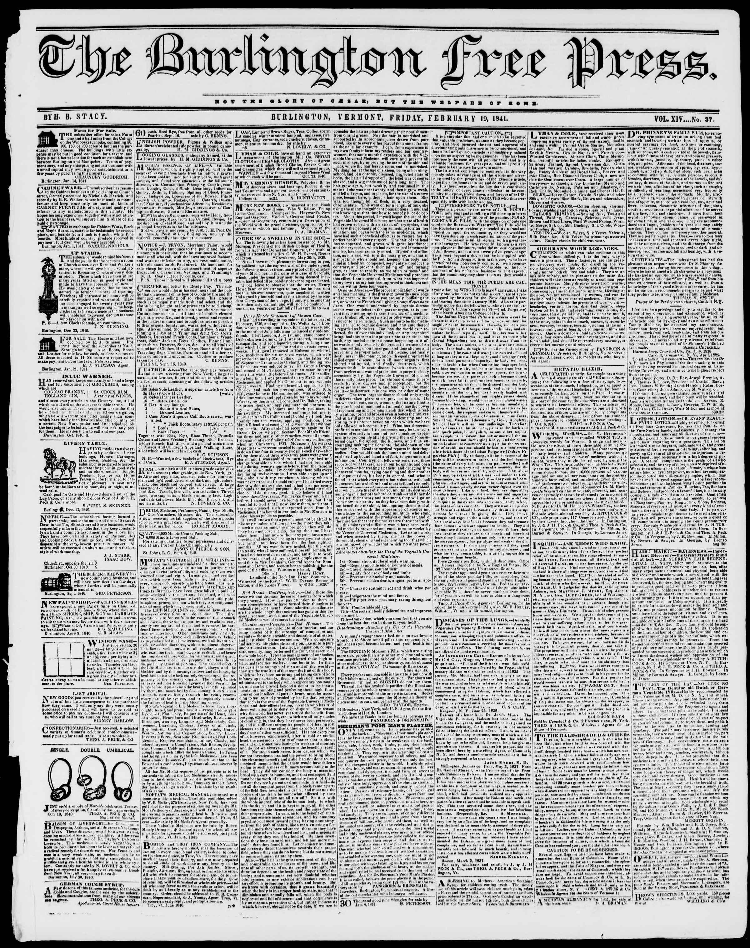 Newspaper of Burlington Free Press dated February 19, 1841 Page 1