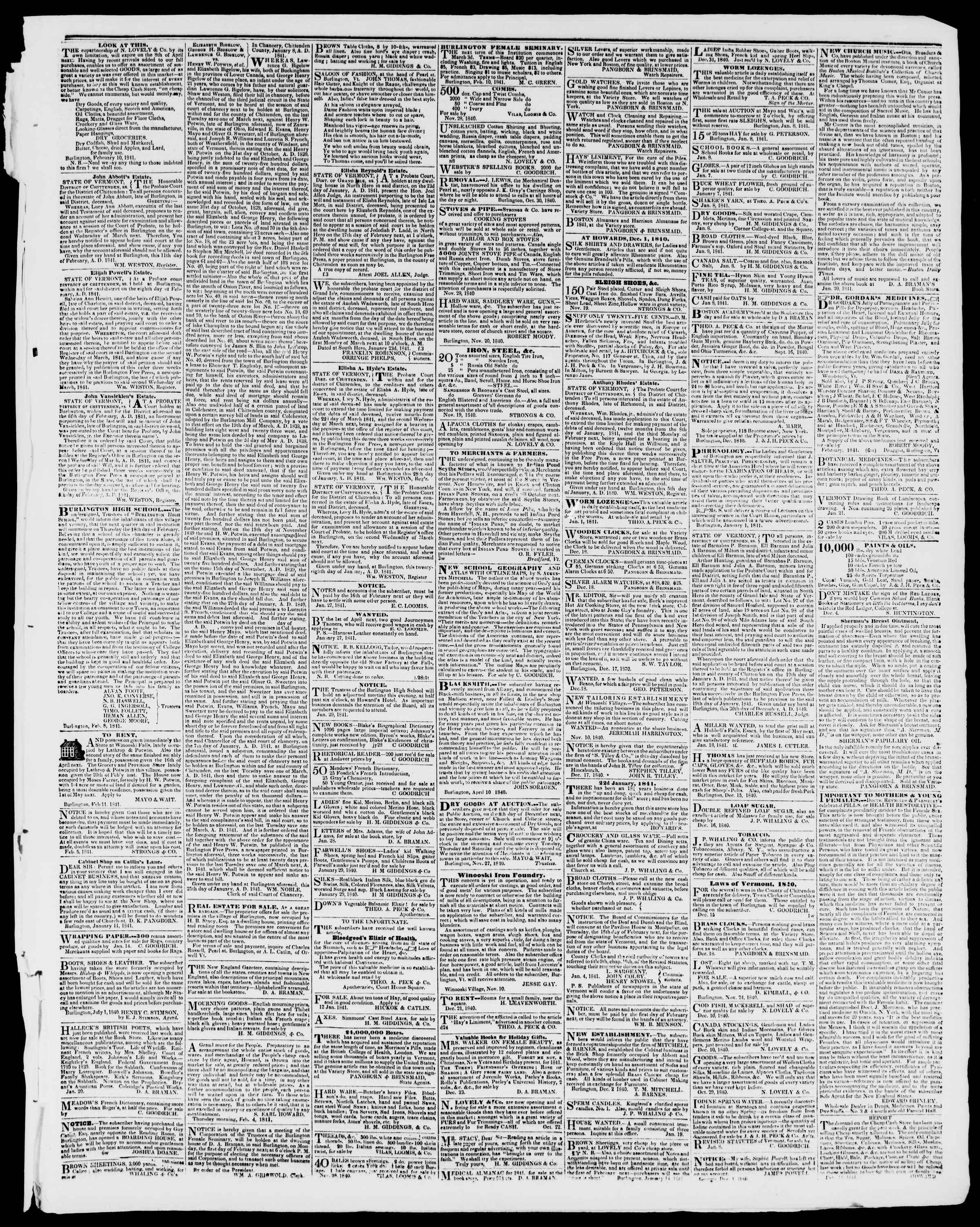 Newspaper of Burlington Free Press dated February 19, 1841 Page 3