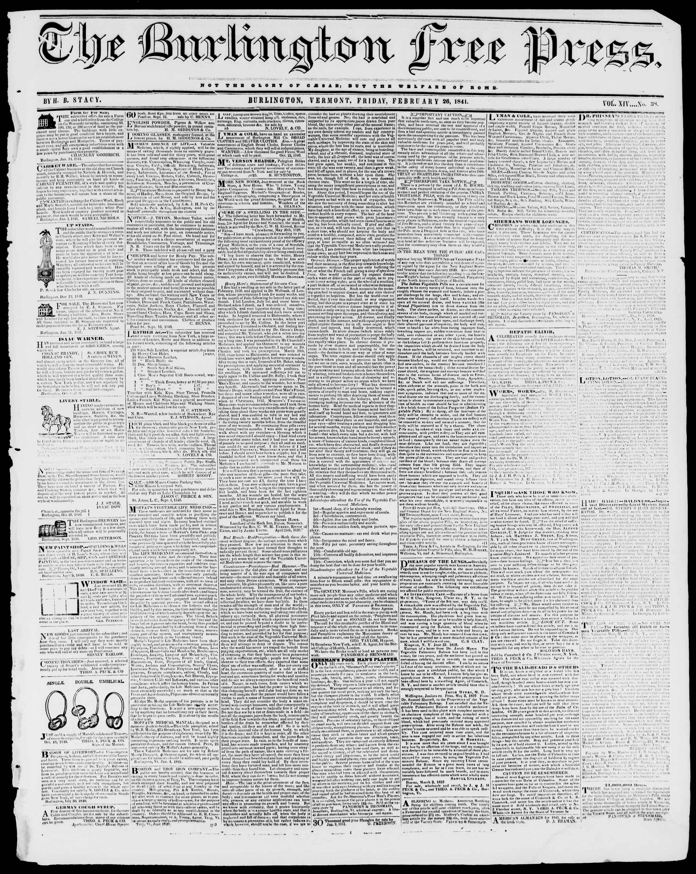 Newspaper of Burlington Free Press dated February 26, 1841 Page 1