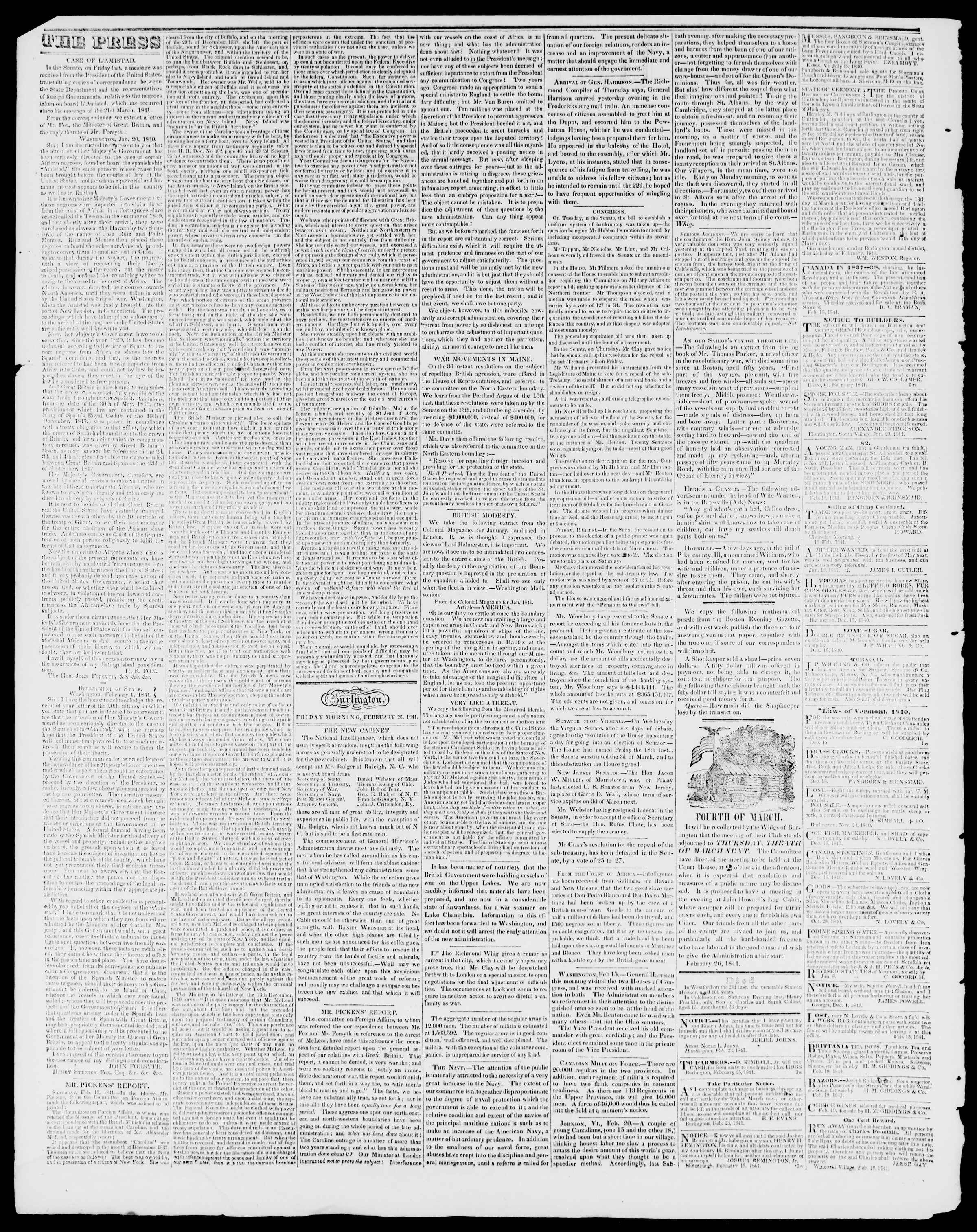Newspaper of Burlington Free Press dated February 26, 1841 Page 2
